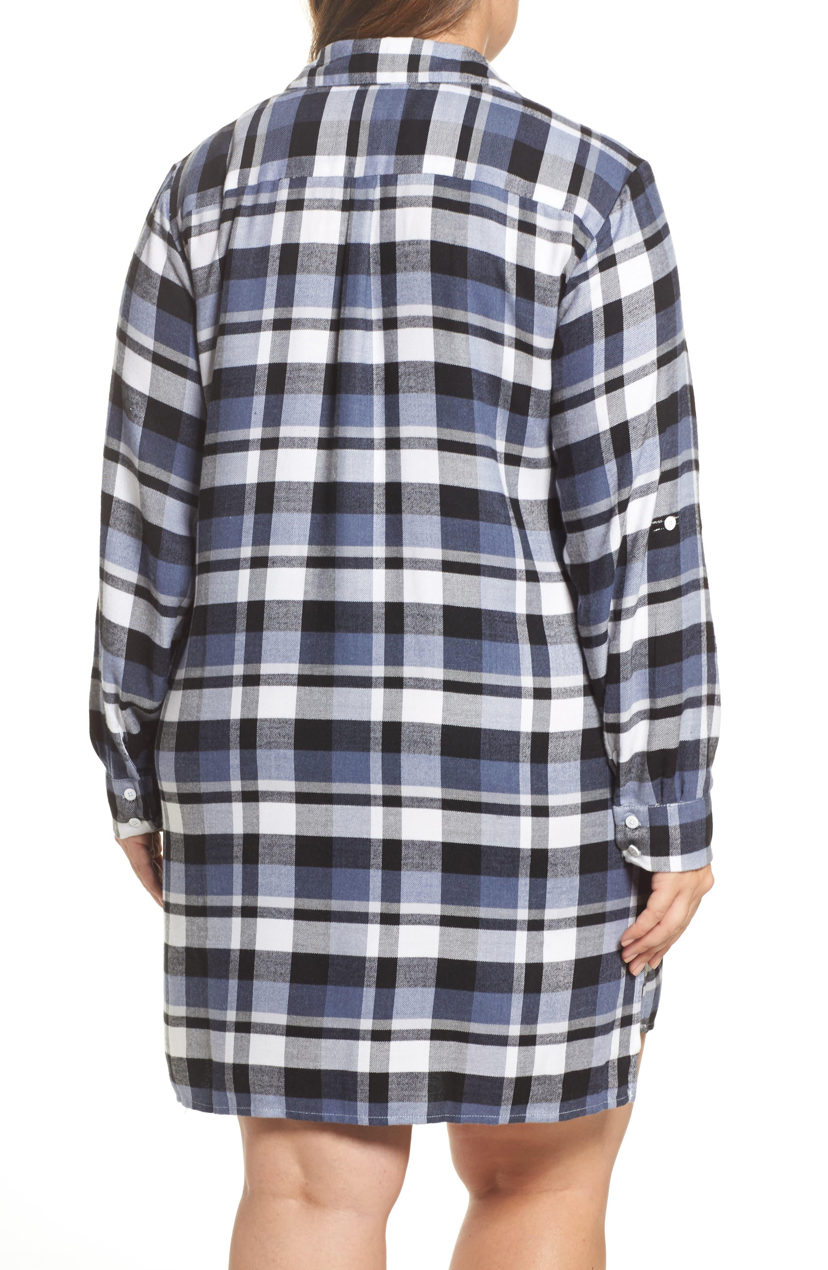 Alternate Image 2  - DKNY Plaid Sleep Shirt (Plus Size)