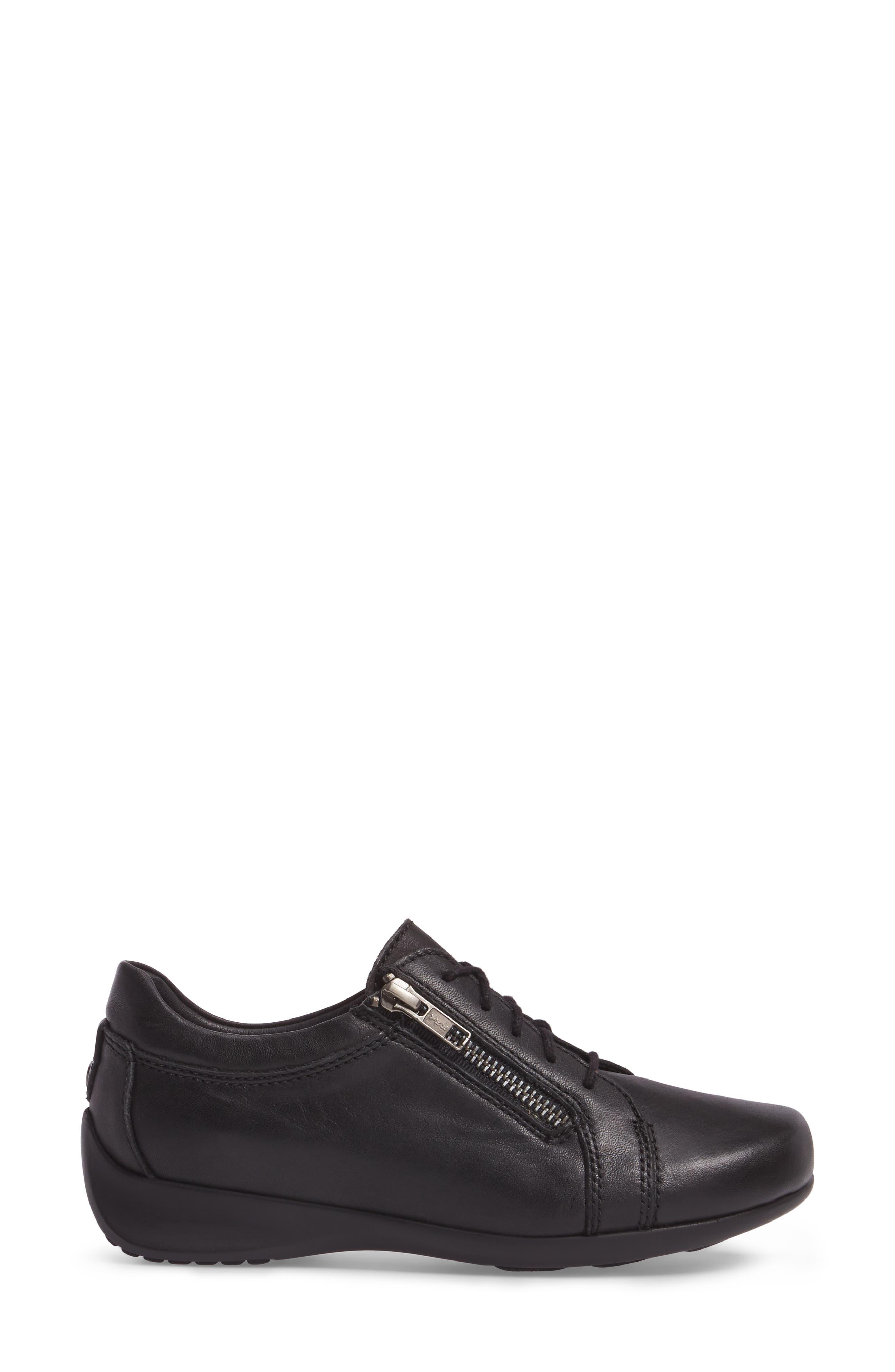 Bonnie Sneaker,                             Alternate thumbnail 3, color,                             Black Leather