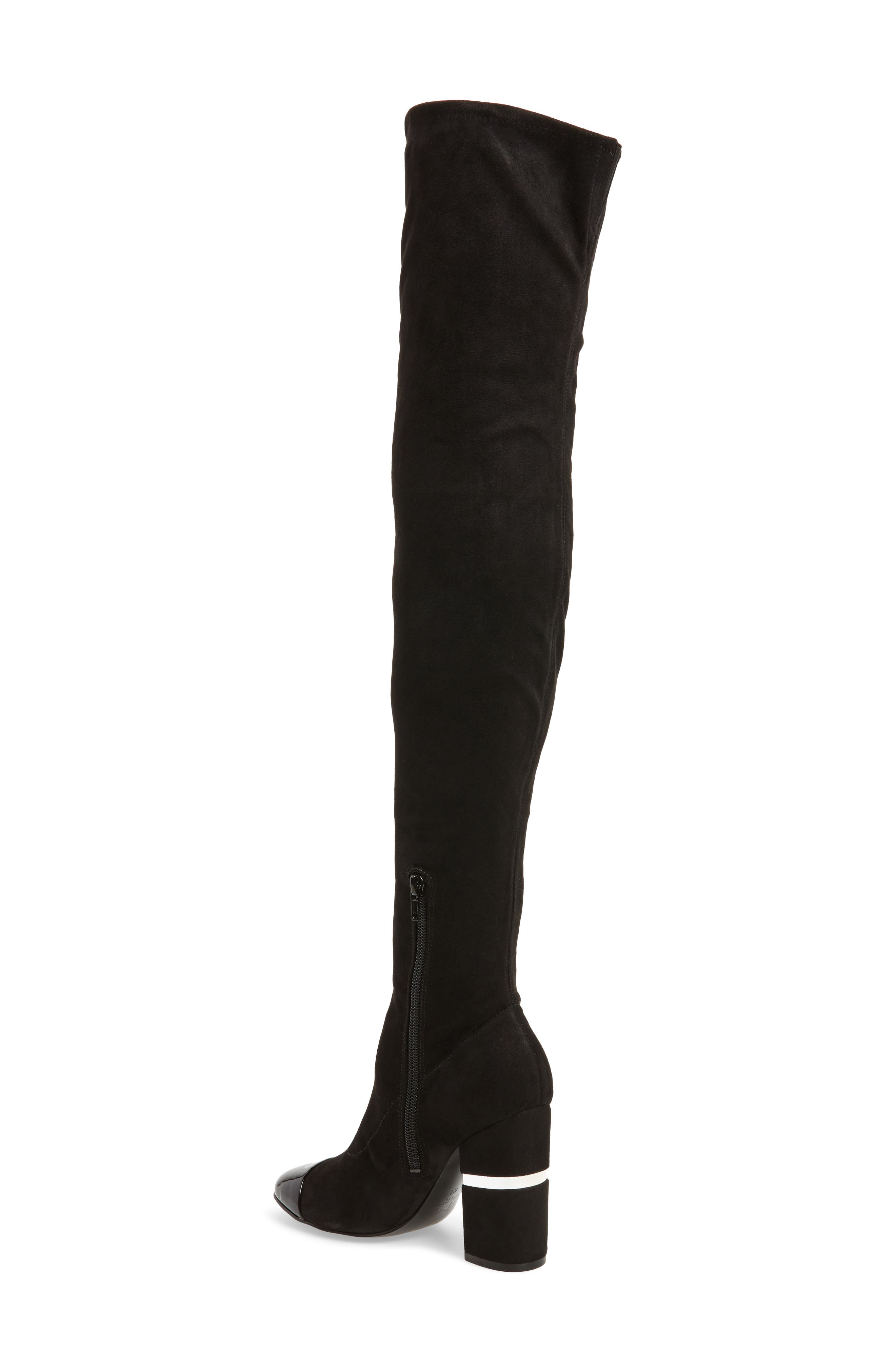 Petel Over the Knee Boot,                             Alternate thumbnail 2, color,                             Black Faux Suede