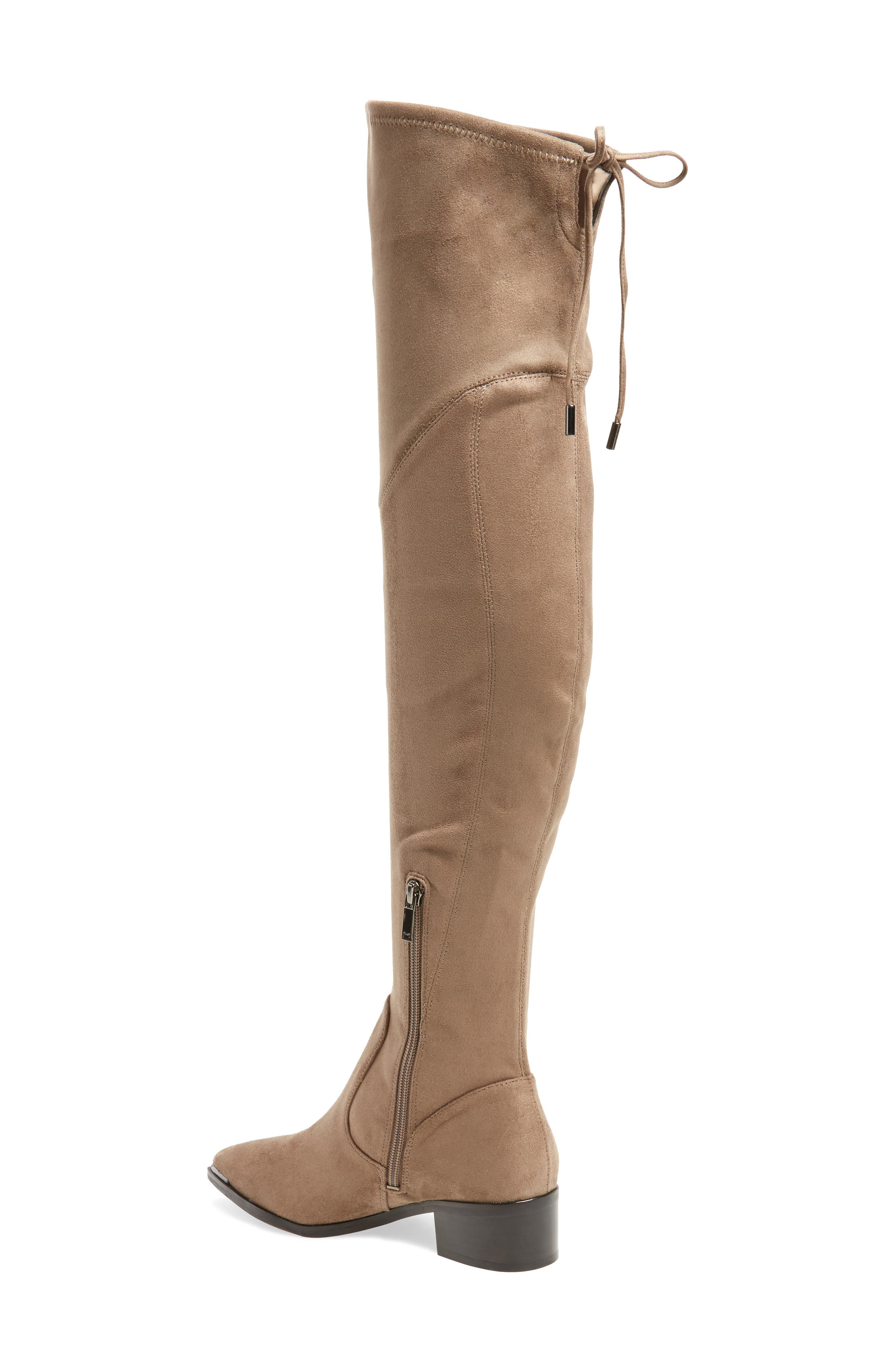 Yuna Over the Knee Boot,                             Alternate thumbnail 4, color,                             Taupe Faux Suede
