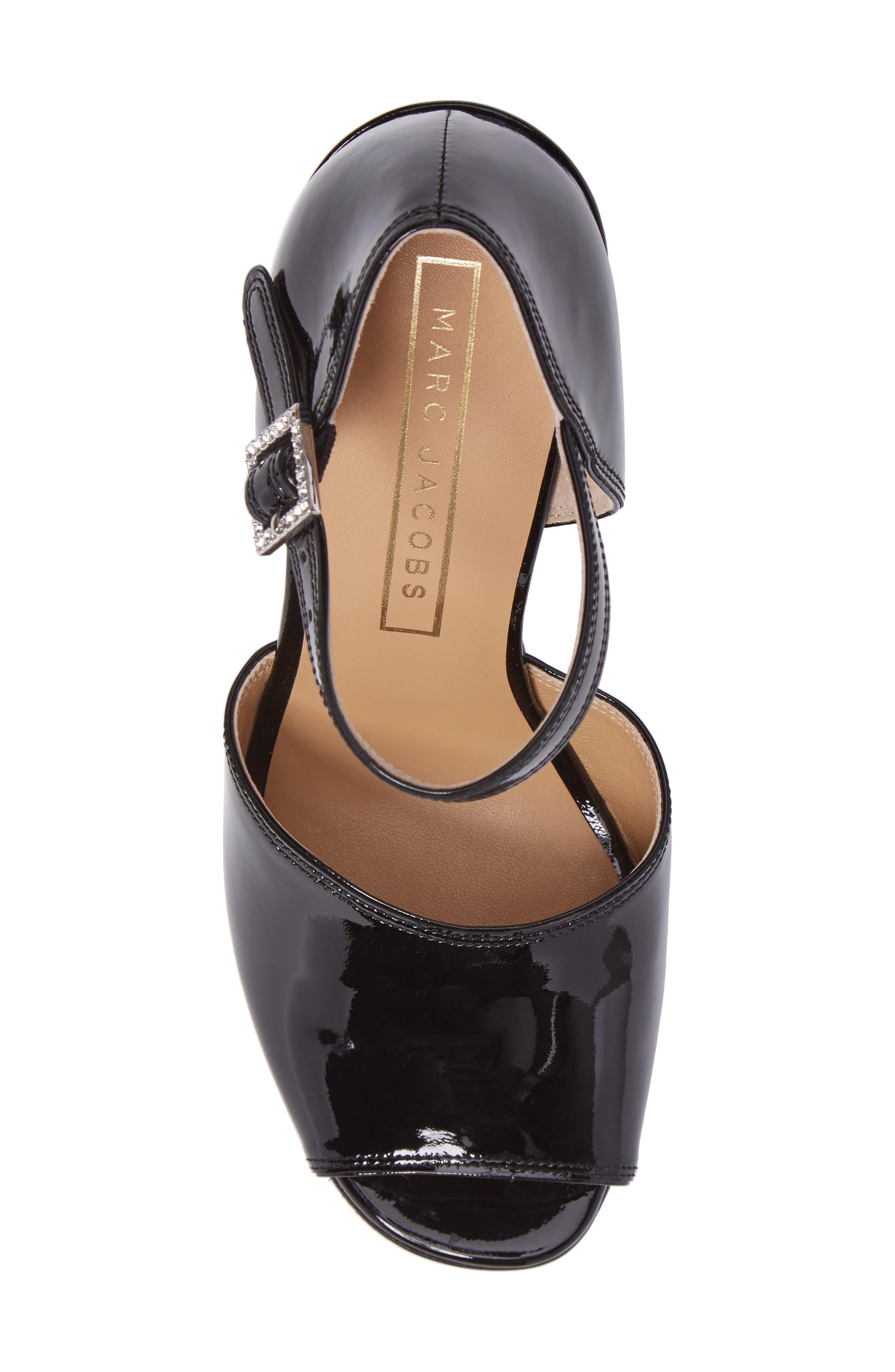 Kasia Embellished Ankle Strap Sandal,                             Alternate thumbnail 5, color,                             Black