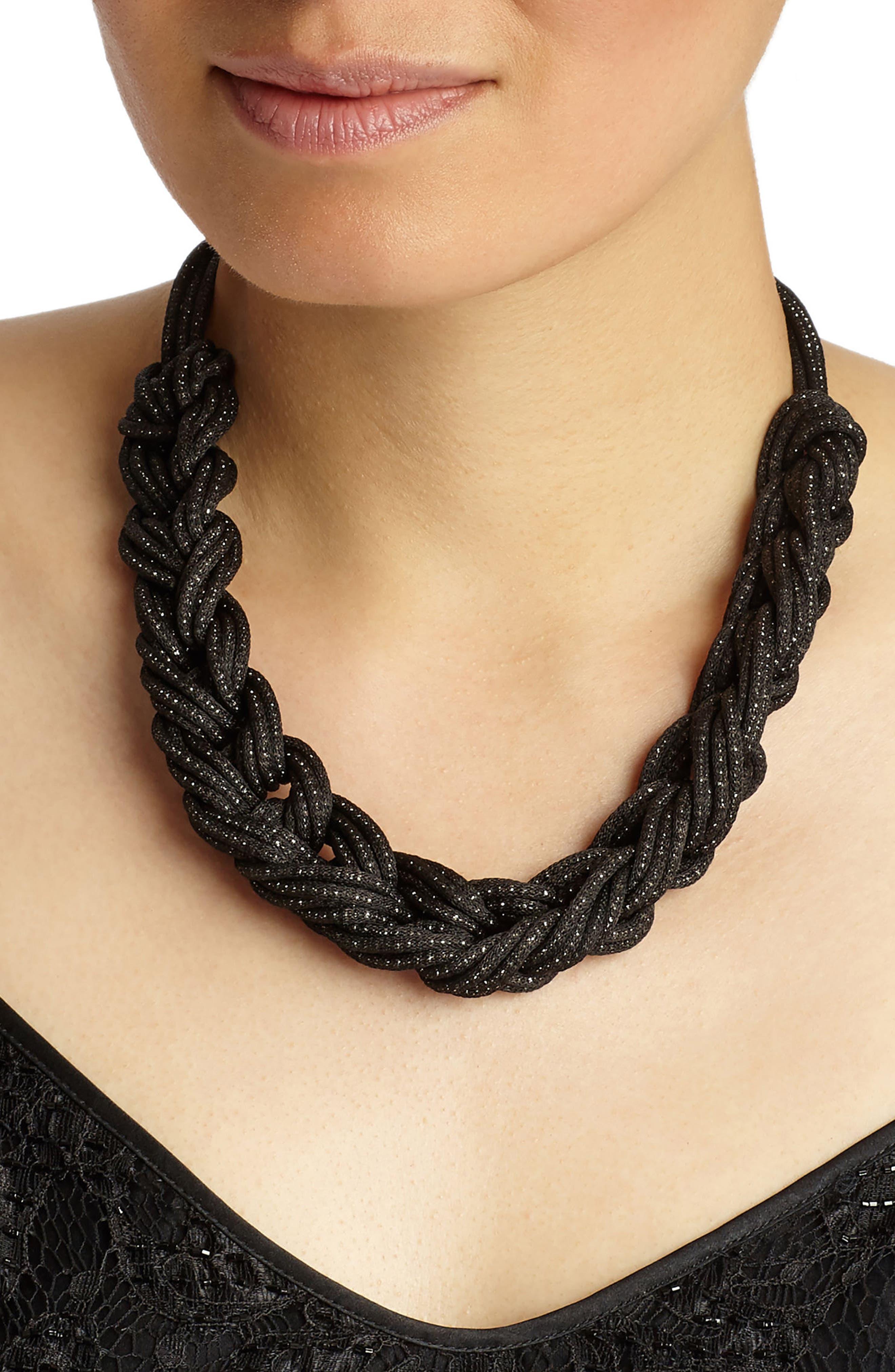 Braided Mesh Necklace,                             Alternate thumbnail 2, color,                             Black