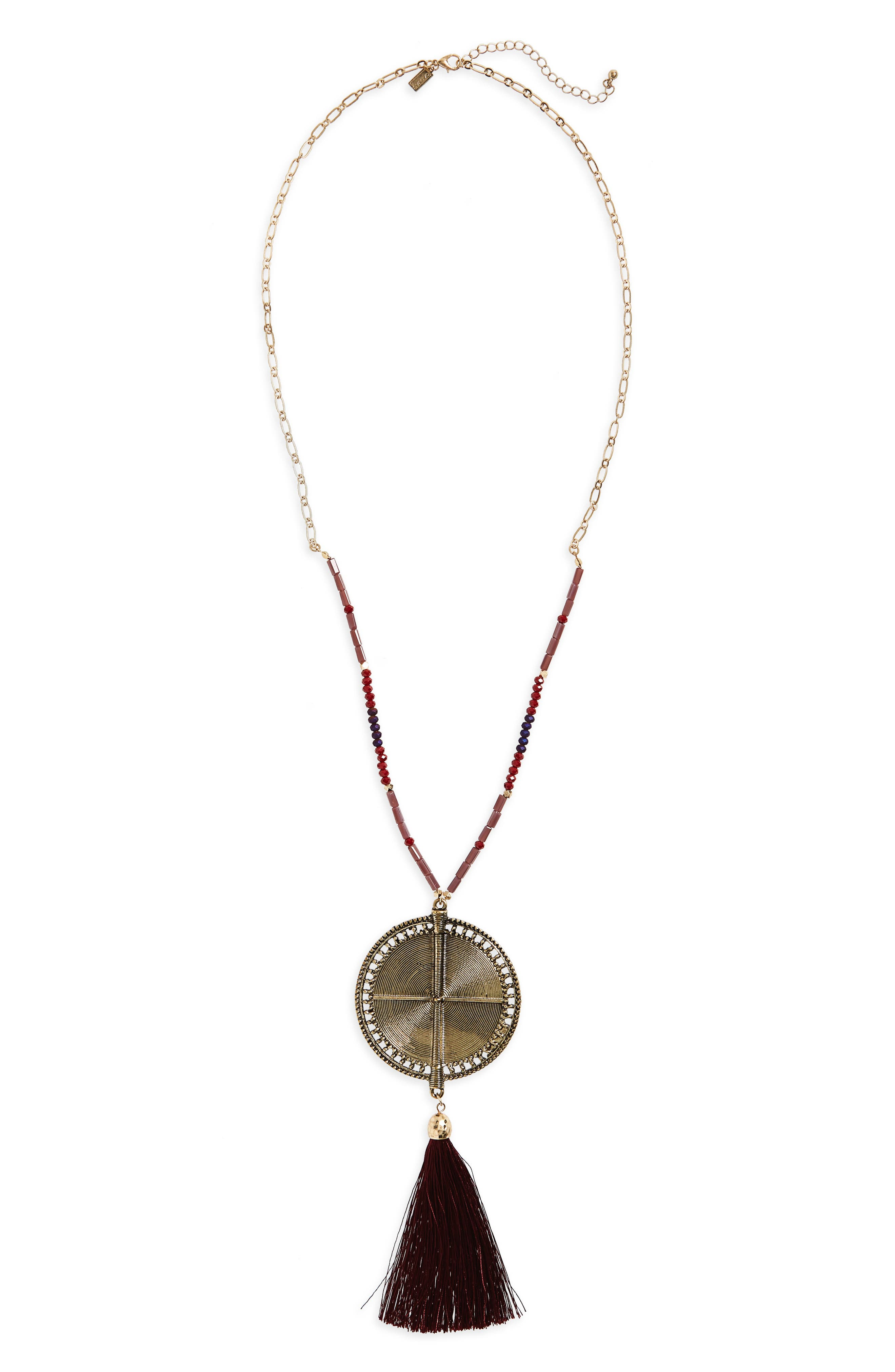 Medallion Pendant Necklace,                             Main thumbnail 1, color,                             Burgundy