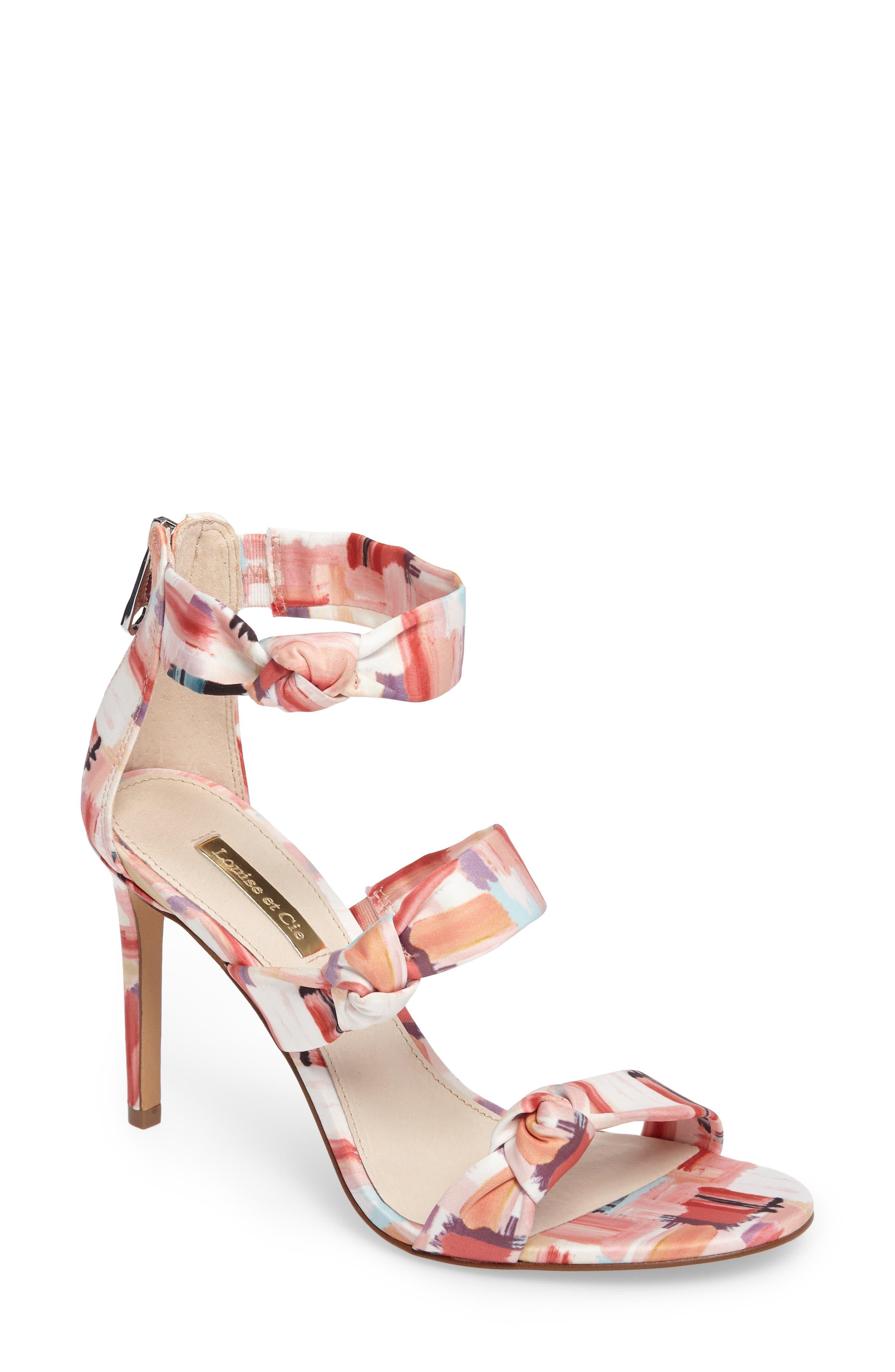 Klarissa Sandal,                         Main,                         color, Coral Multi Satin