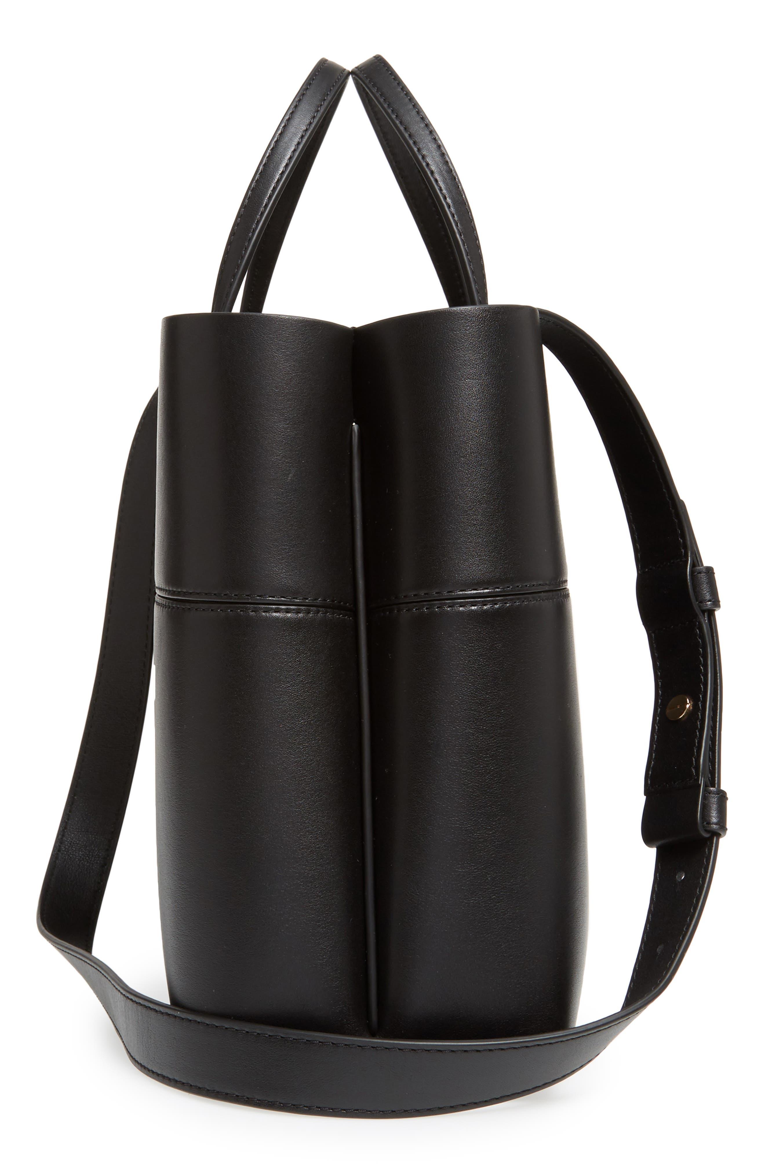 Block-T Leather Tote,                             Alternate thumbnail 4, color,                             Black/ Black