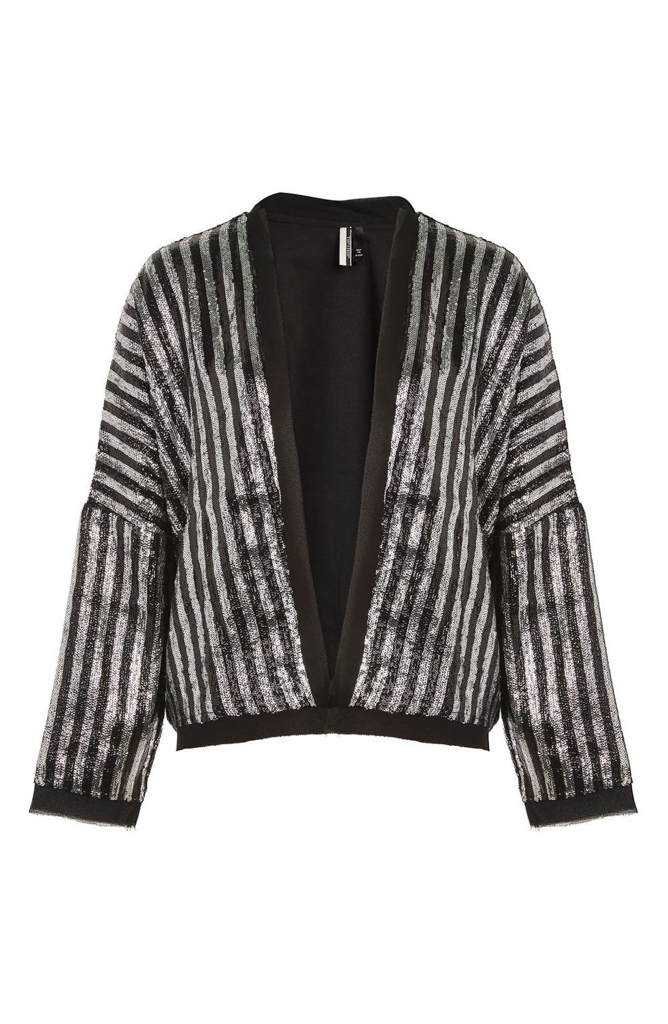 Batwing Sequin Stripe Jacket,                             Alternate thumbnail 3, color,                             Black Multi