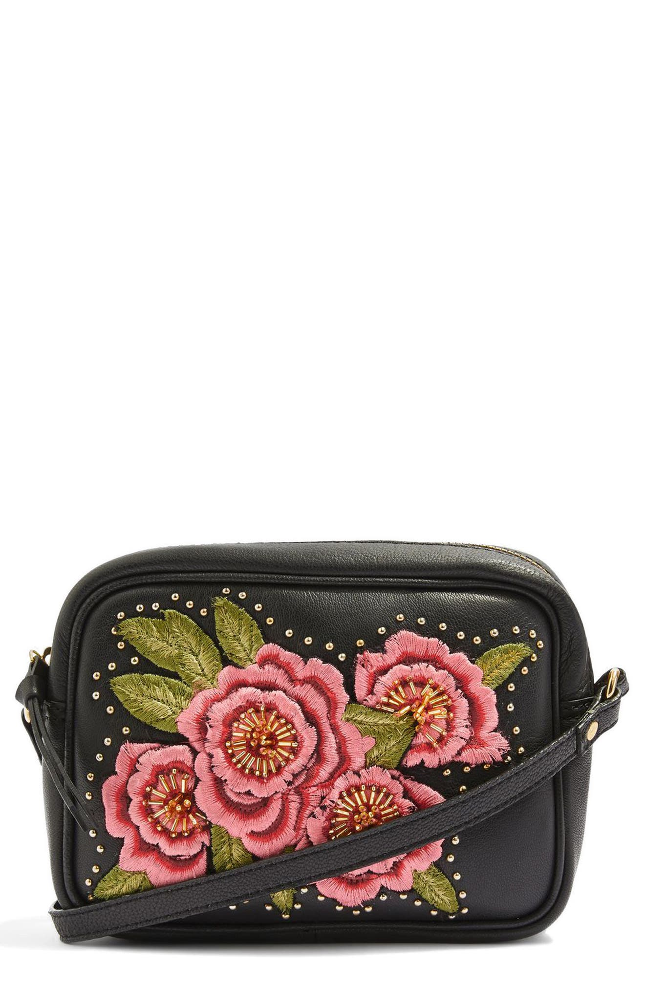 Floral Embroidered Leather Crossbody Bag,                             Main thumbnail 1, color,                             Black Multi