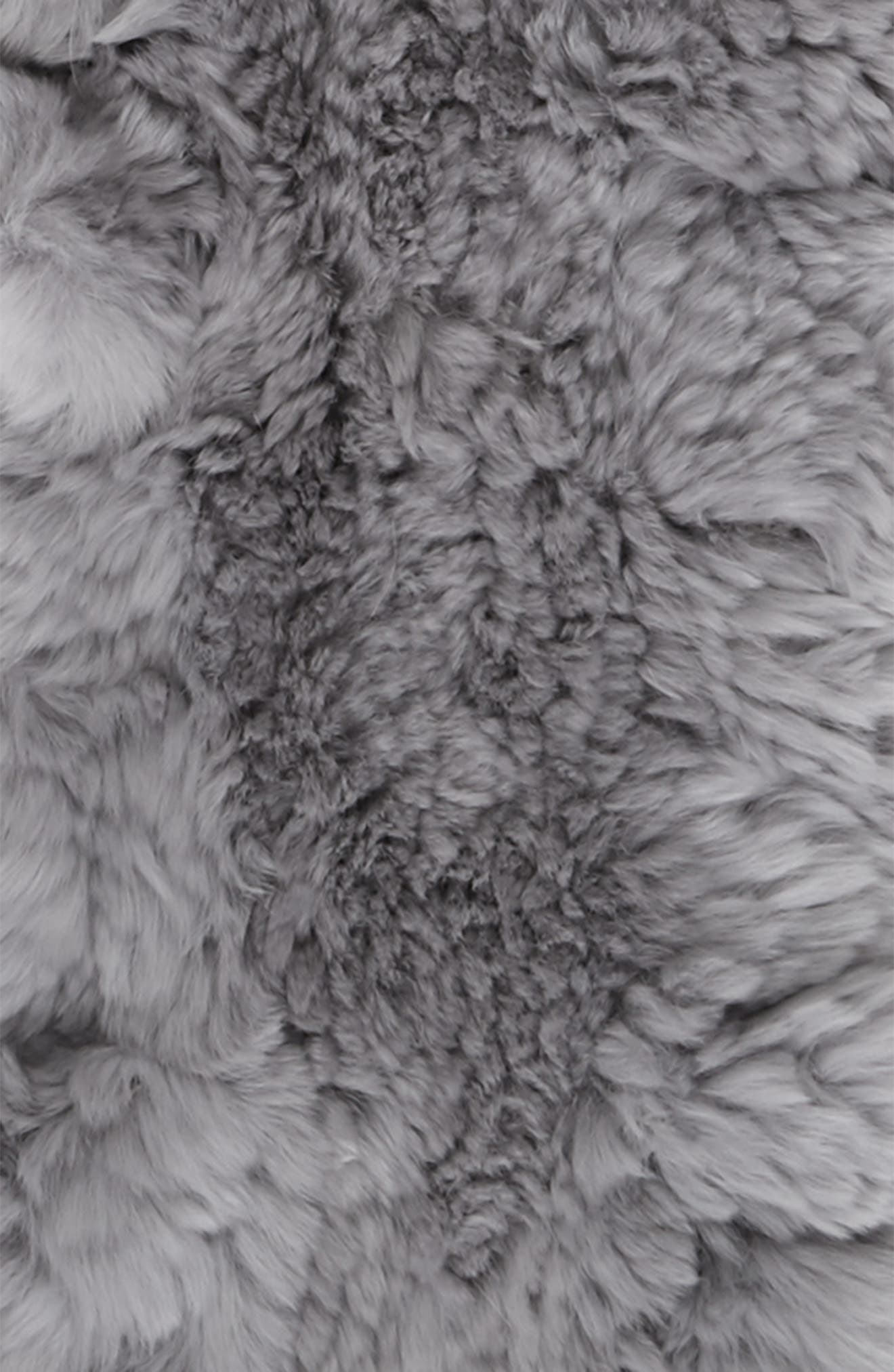 Genuine Rabbit Fur Scarf,                             Alternate thumbnail 3, color,                             Light Silver/ Grey