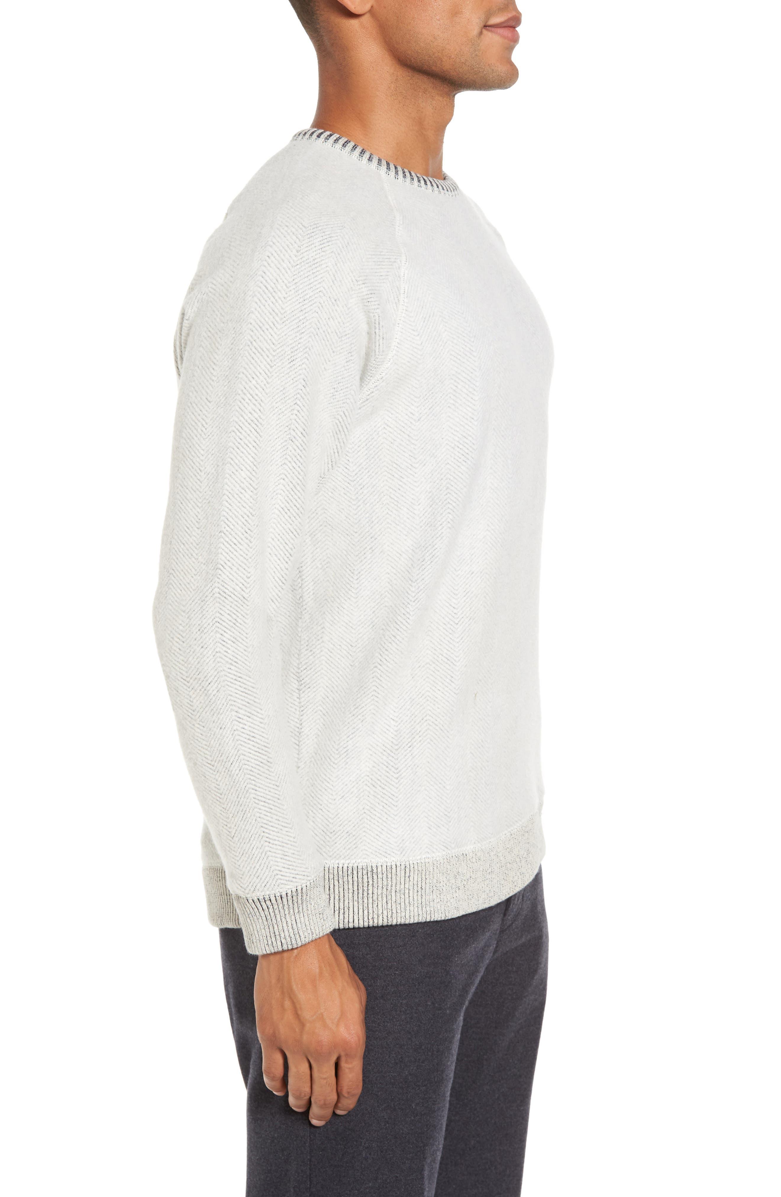 Brushed Fleece Sweatshirt,                             Alternate thumbnail 3, color,                             Ivory Egret