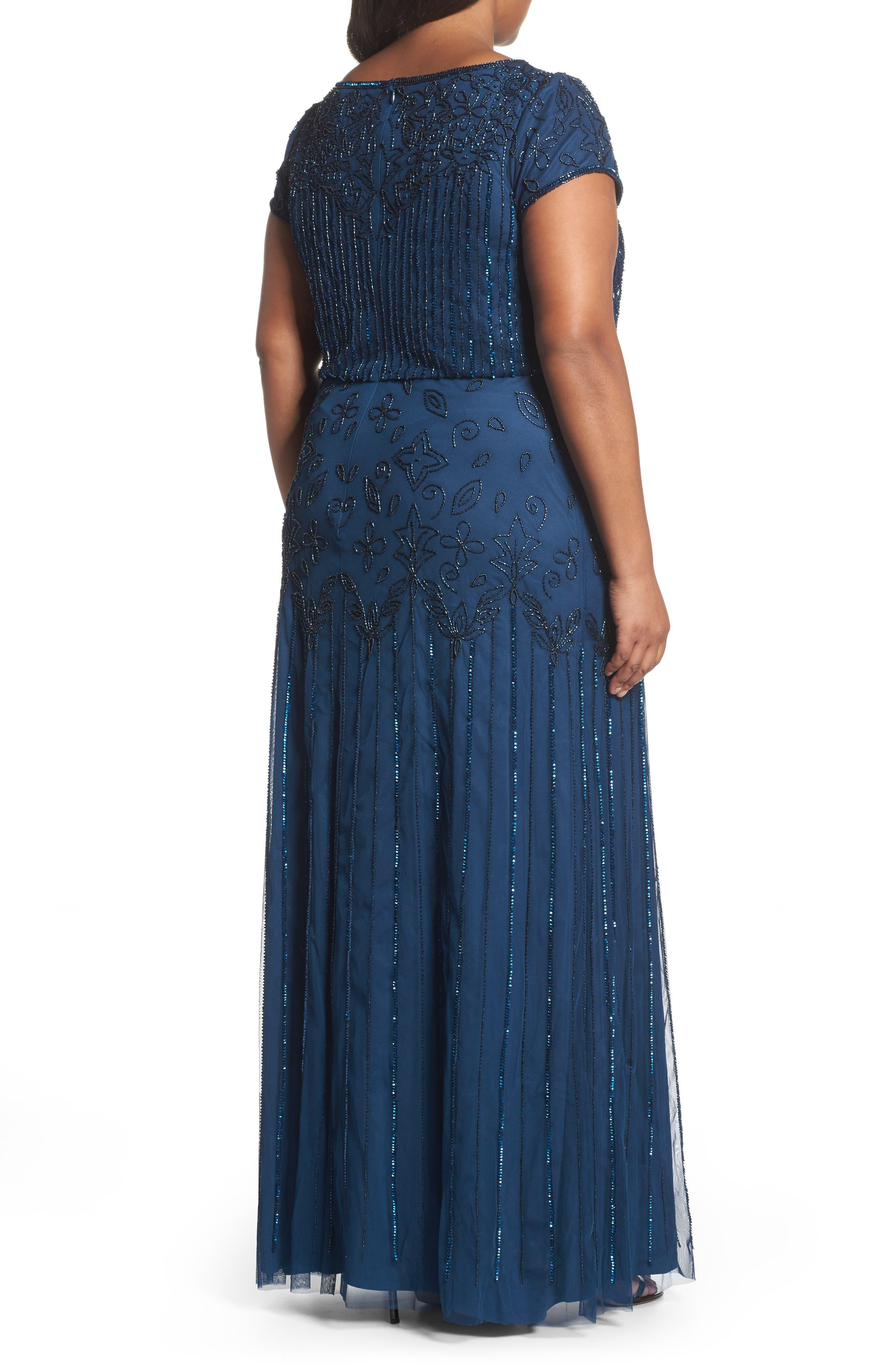 Beaded Blouson Gown,                             Alternate thumbnail 2, color,                             Deep Blue