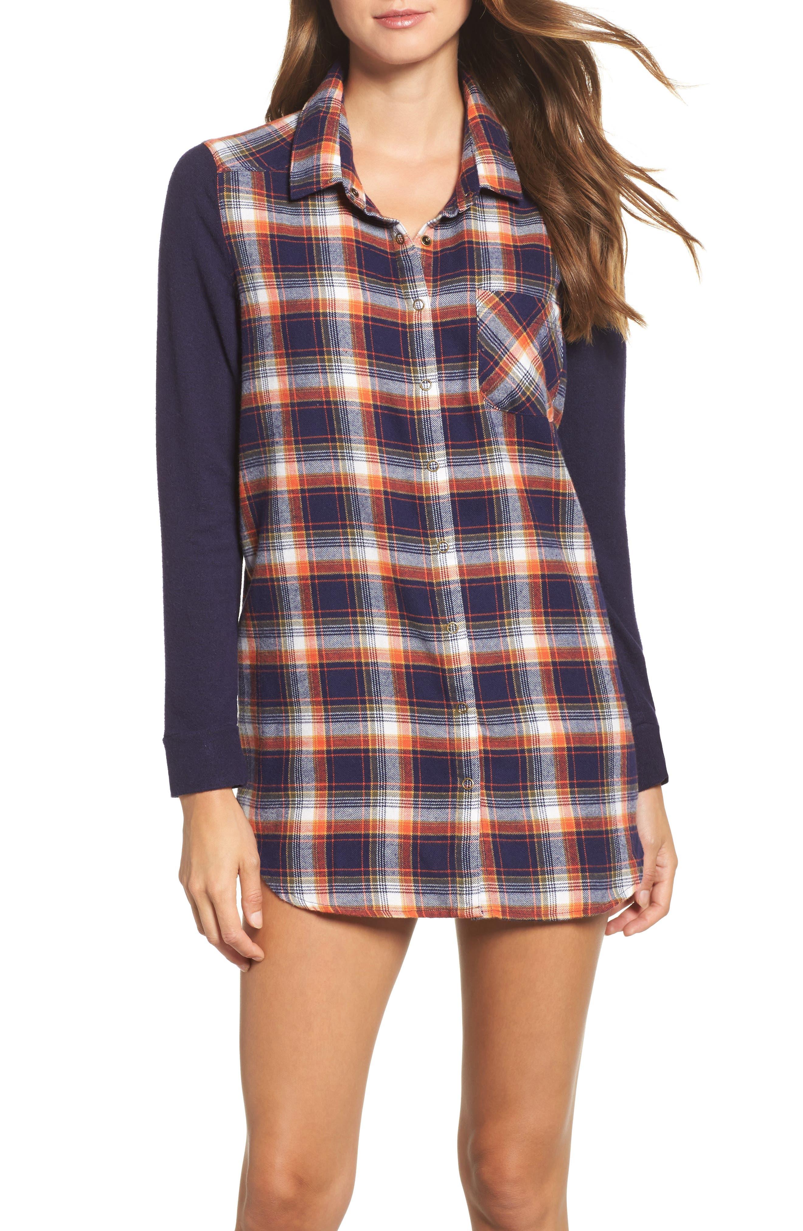 Flannel Nightshirt,                         Main,                         color, Navy Dusk Preppy Plaid