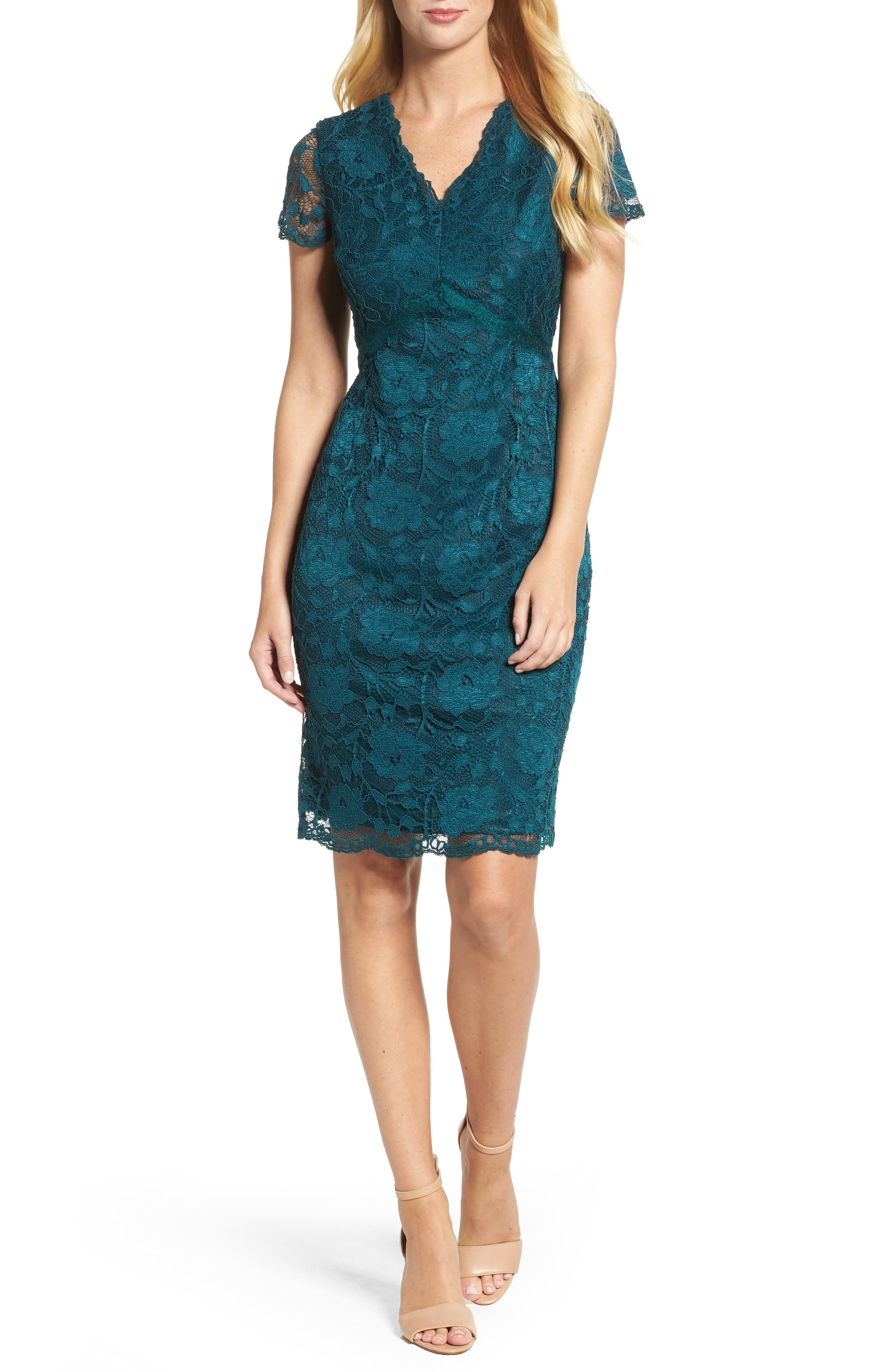 Lace Sheath Dress,                         Main,                         color, Pine