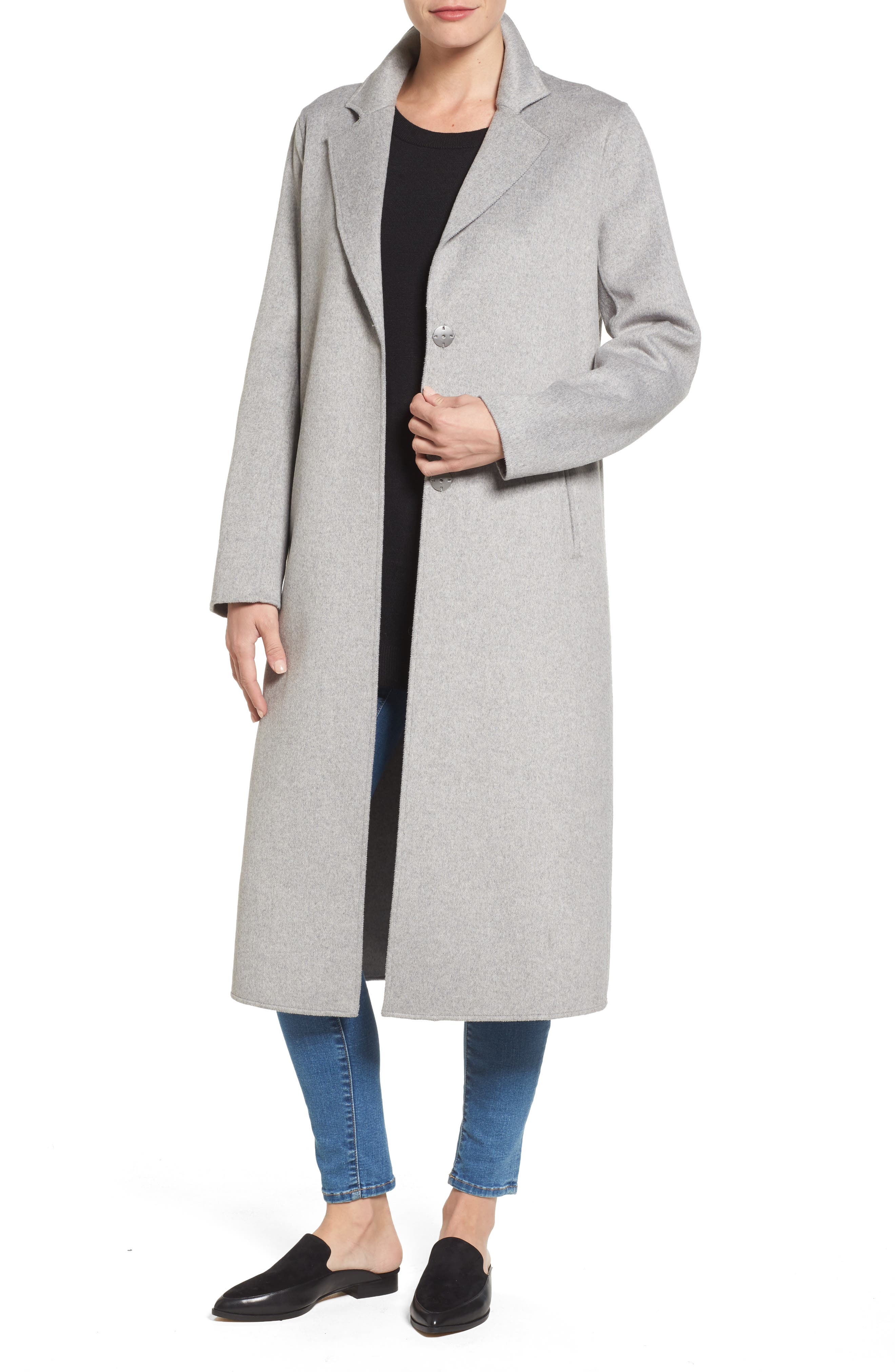 Double Face Wool Blend Long Coat,                         Main,                         color, Light Grey