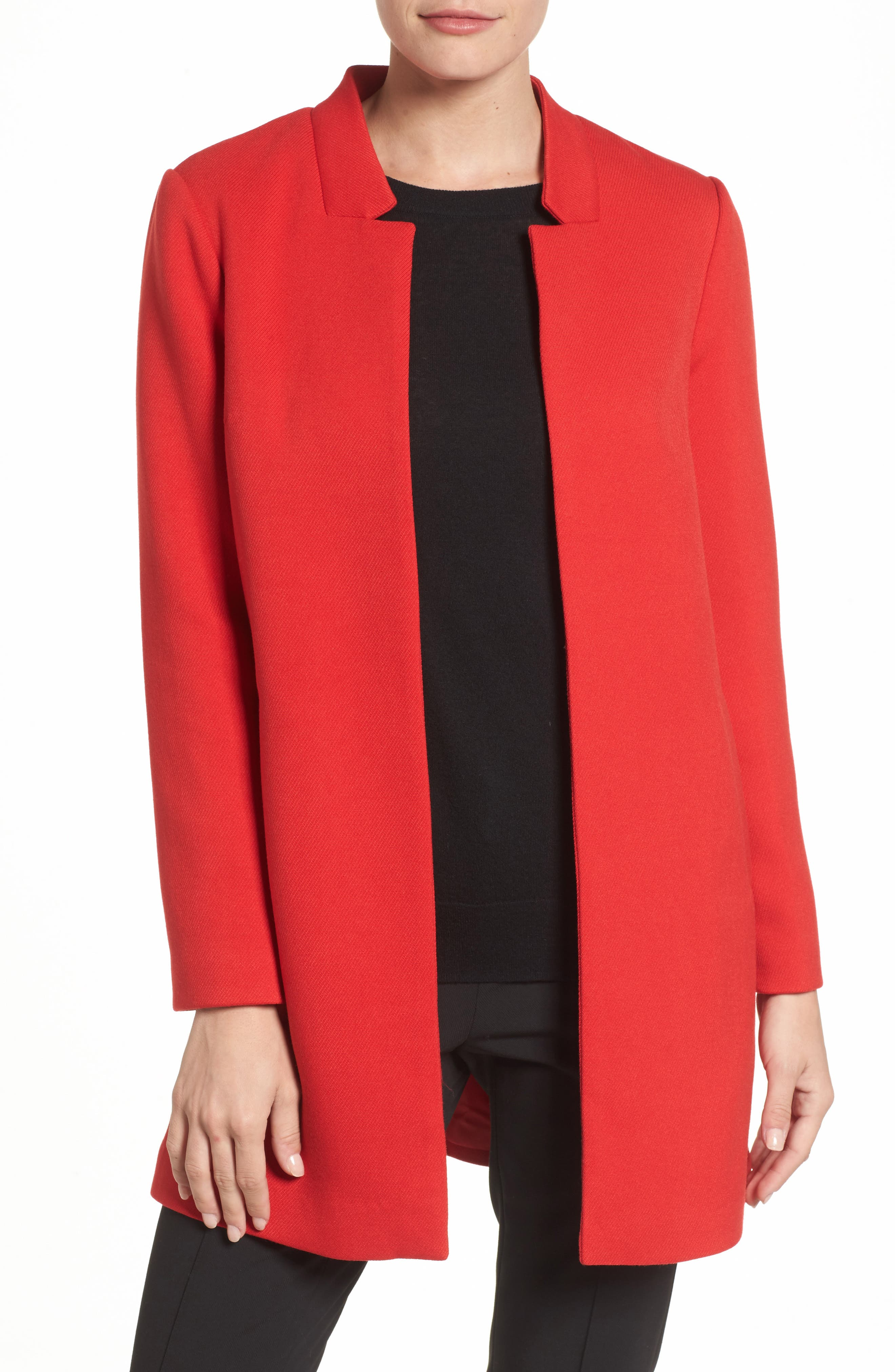 Open Car Coat,                         Main,                         color, Red