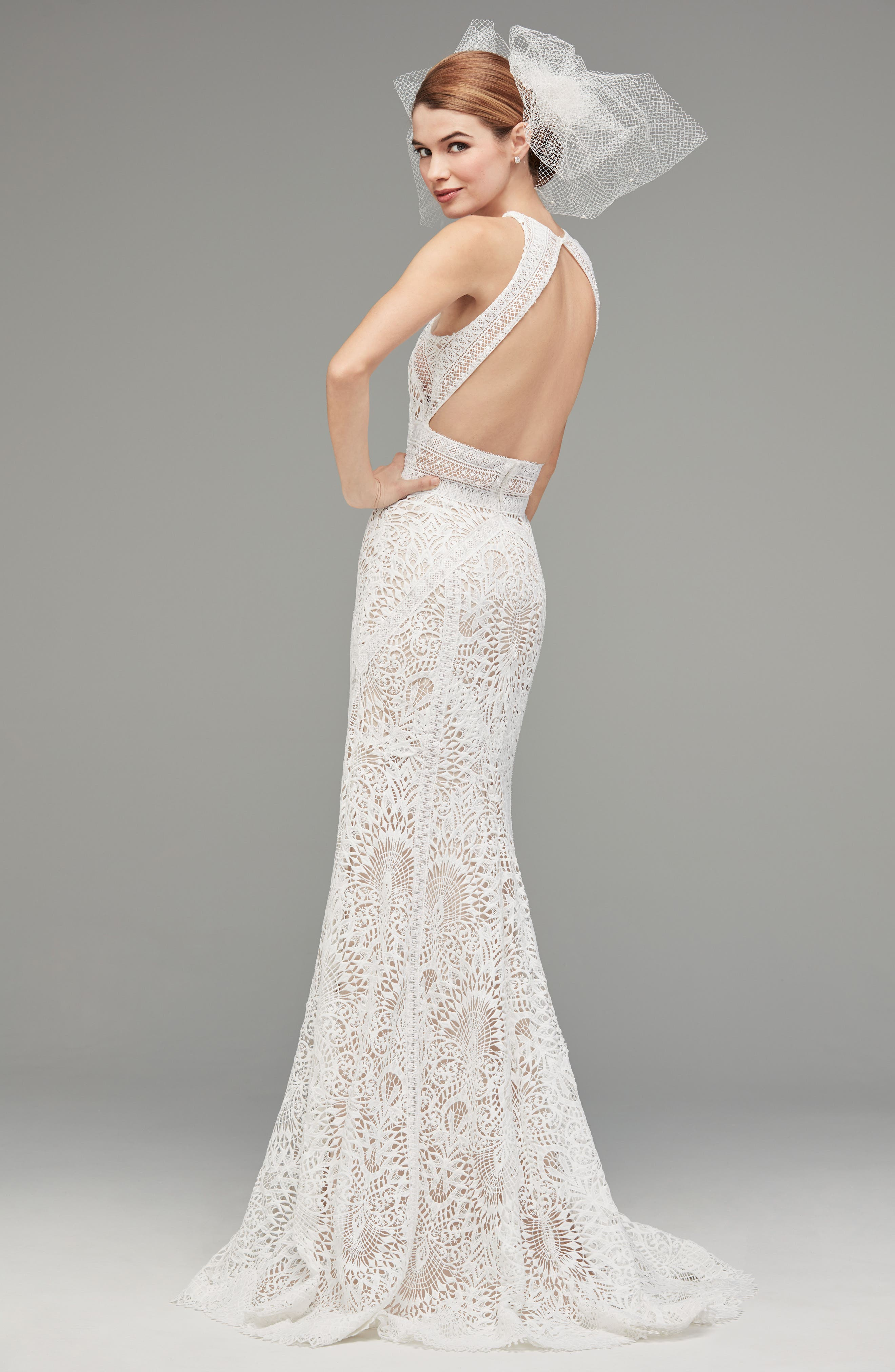 Alternate Image 2  - Watters Vendela Sleeveless Empire Waist Lace Gown