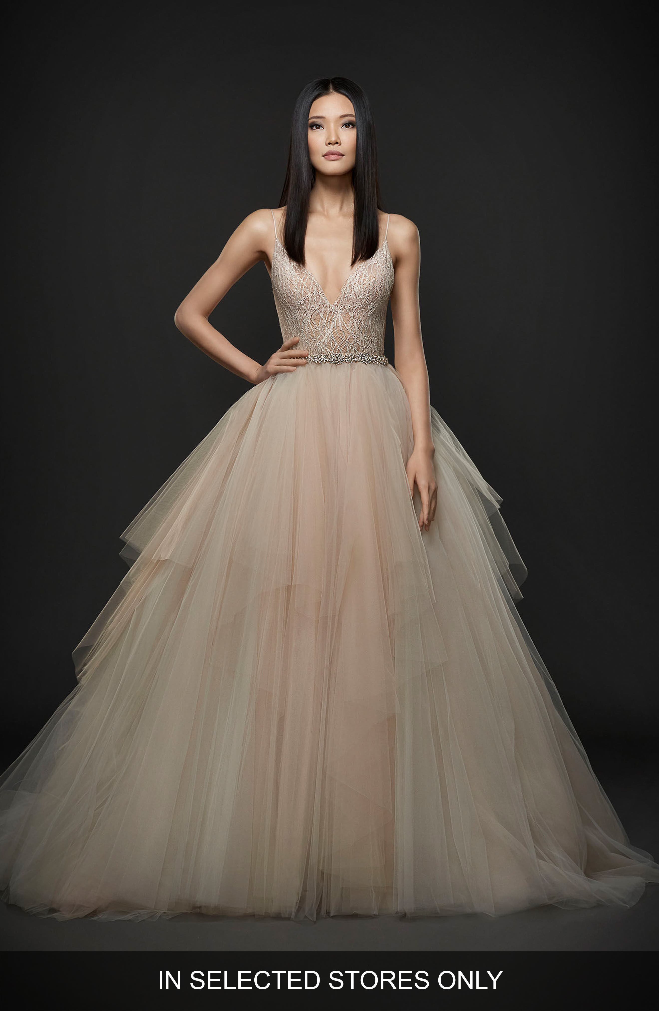 Embellished Bodice Ballgown,                             Main thumbnail 1, color,                             Peony