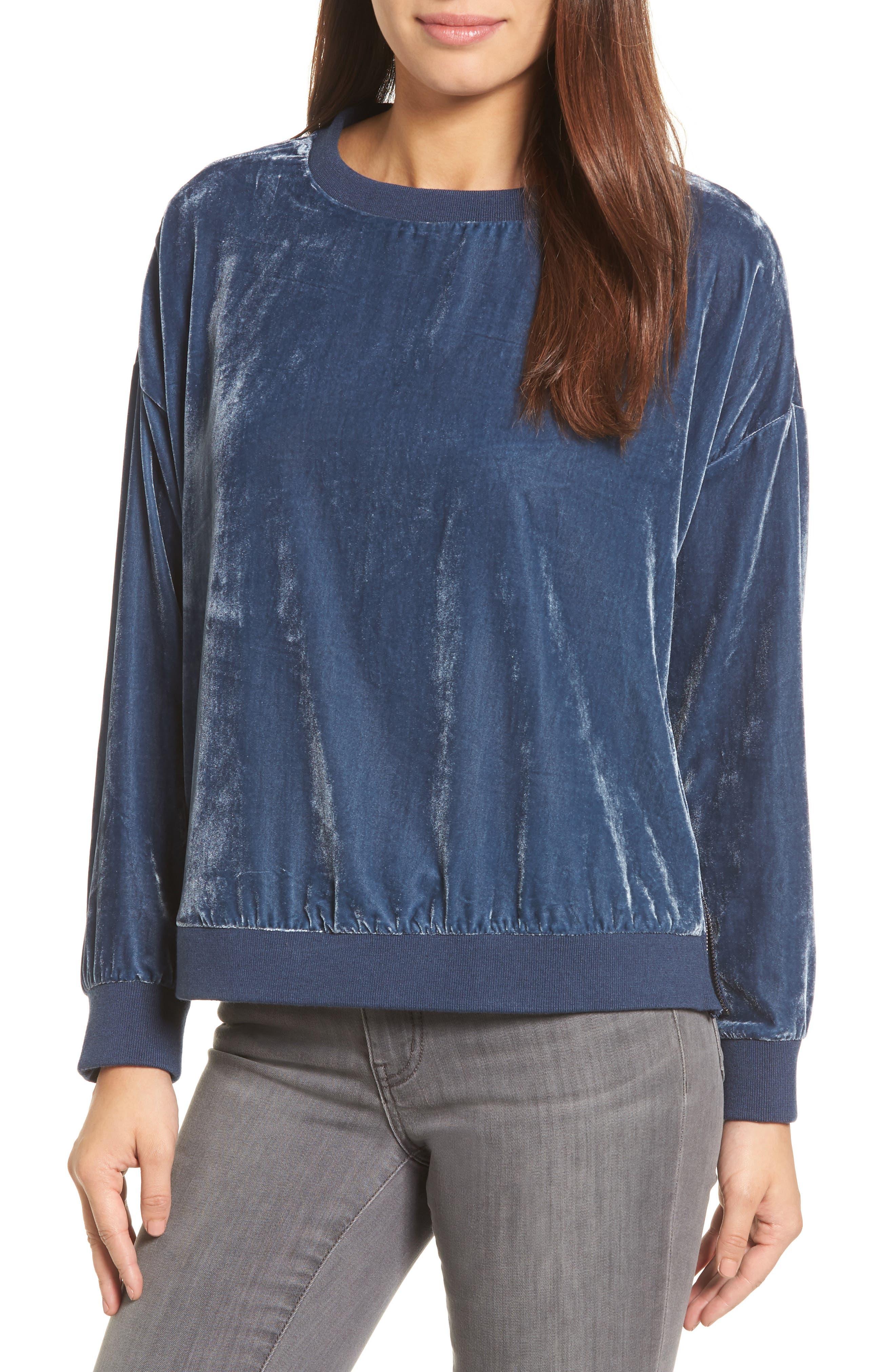 Zipper Velvet Sweatshirt,                             Main thumbnail 1, color,                             Splatter Blue