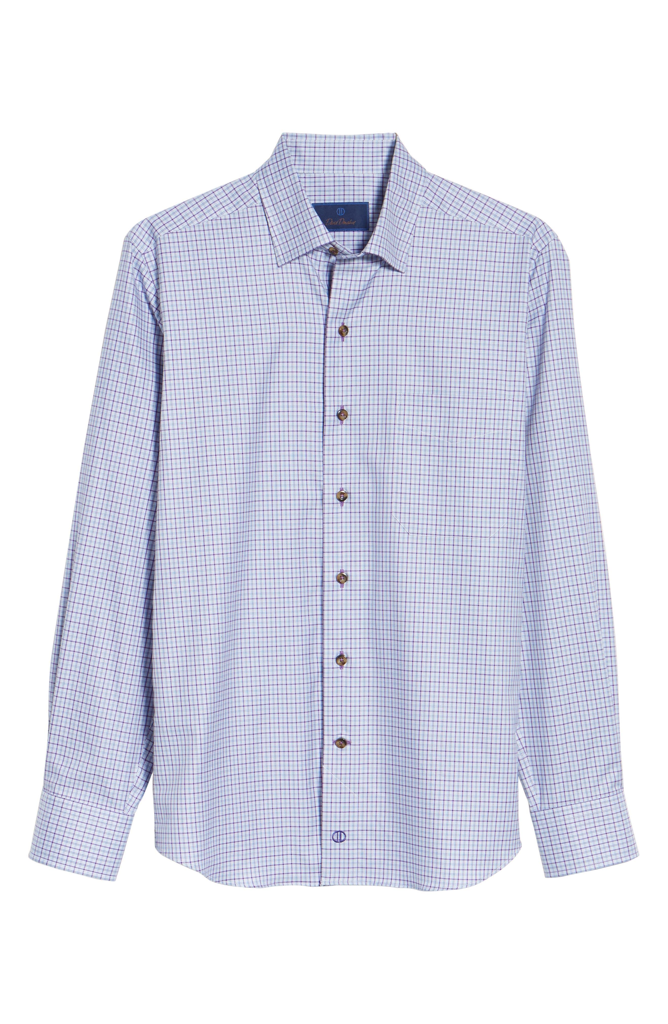 Alternate Image 6  - David Donahue Plaid Regular Fit Sport Shirt