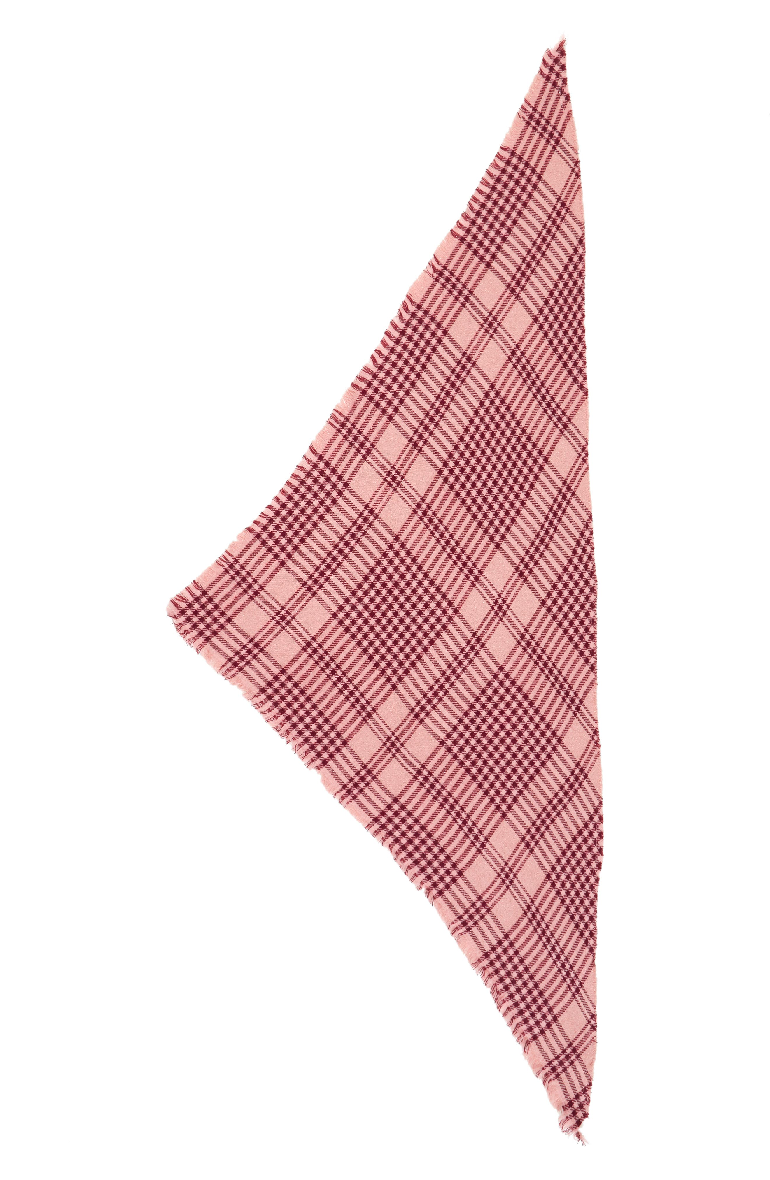 Metallic Plaid Triangle Scarf,                             Alternate thumbnail 2, color,                             Pink Multi