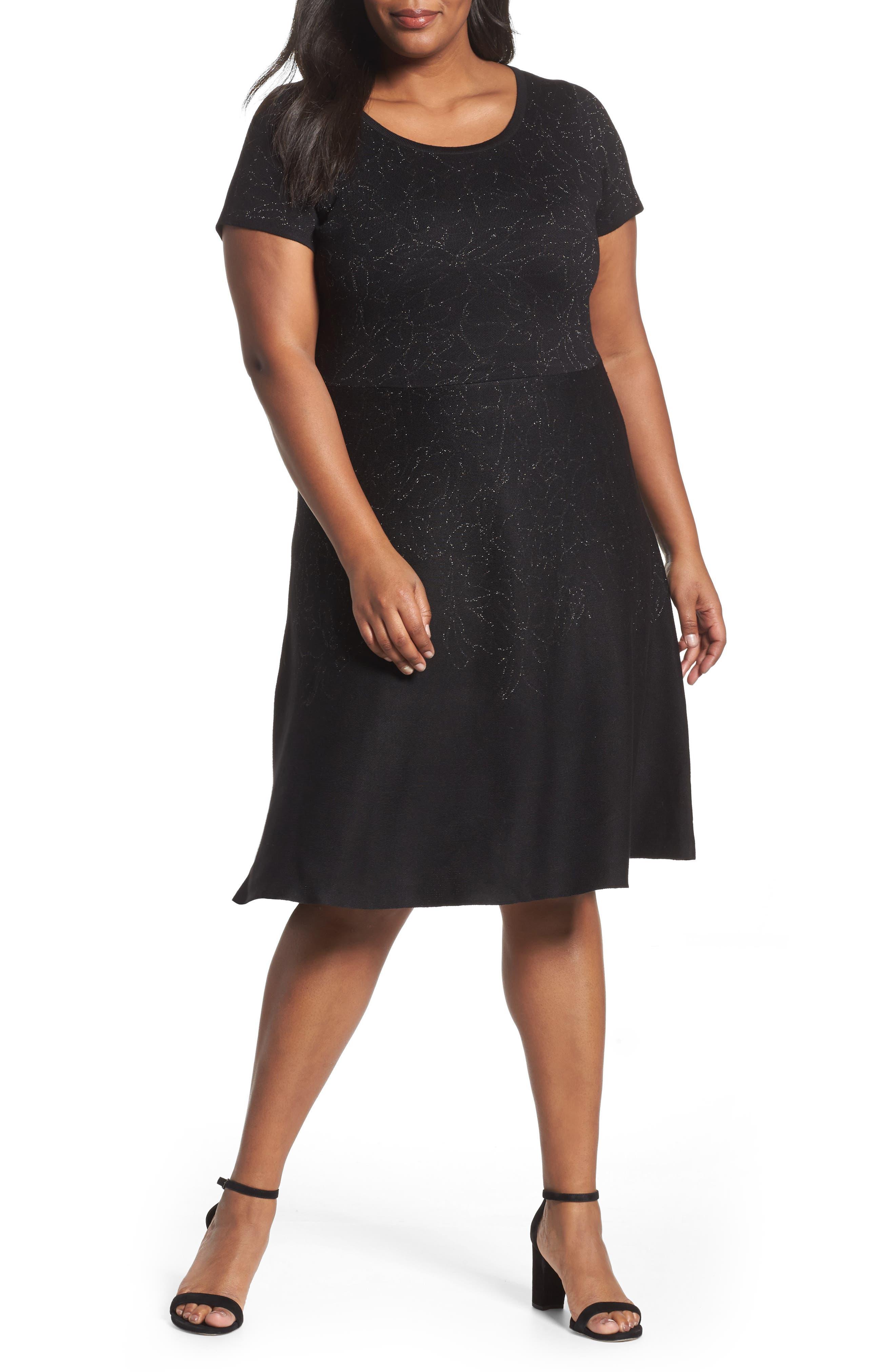 Metallic Knit Fit & Flare Dress,                         Main,                         color, Black Silver