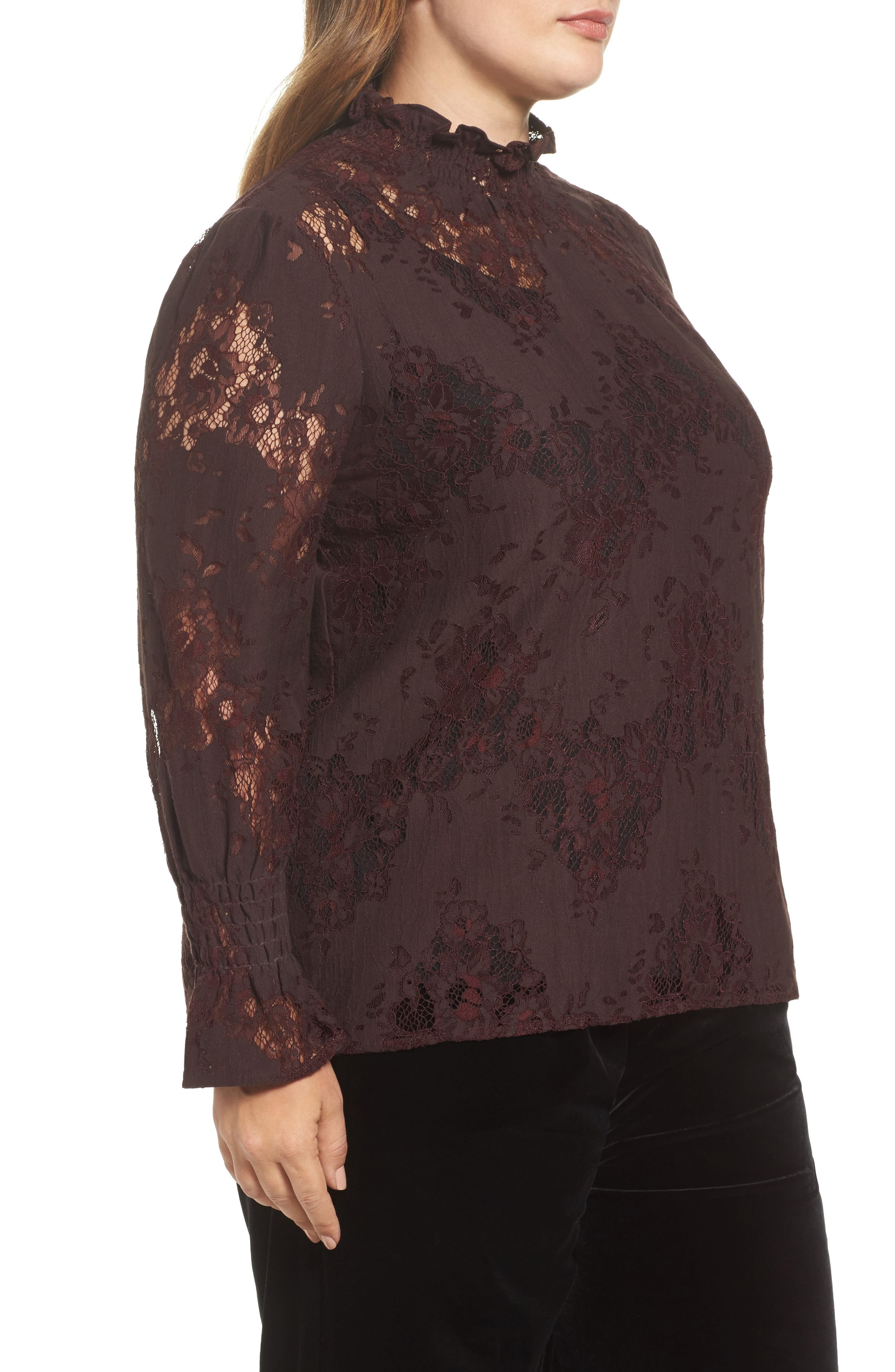 High Neck Ruffle & Lace Blouse,                             Alternate thumbnail 3, color,                             Burgundy