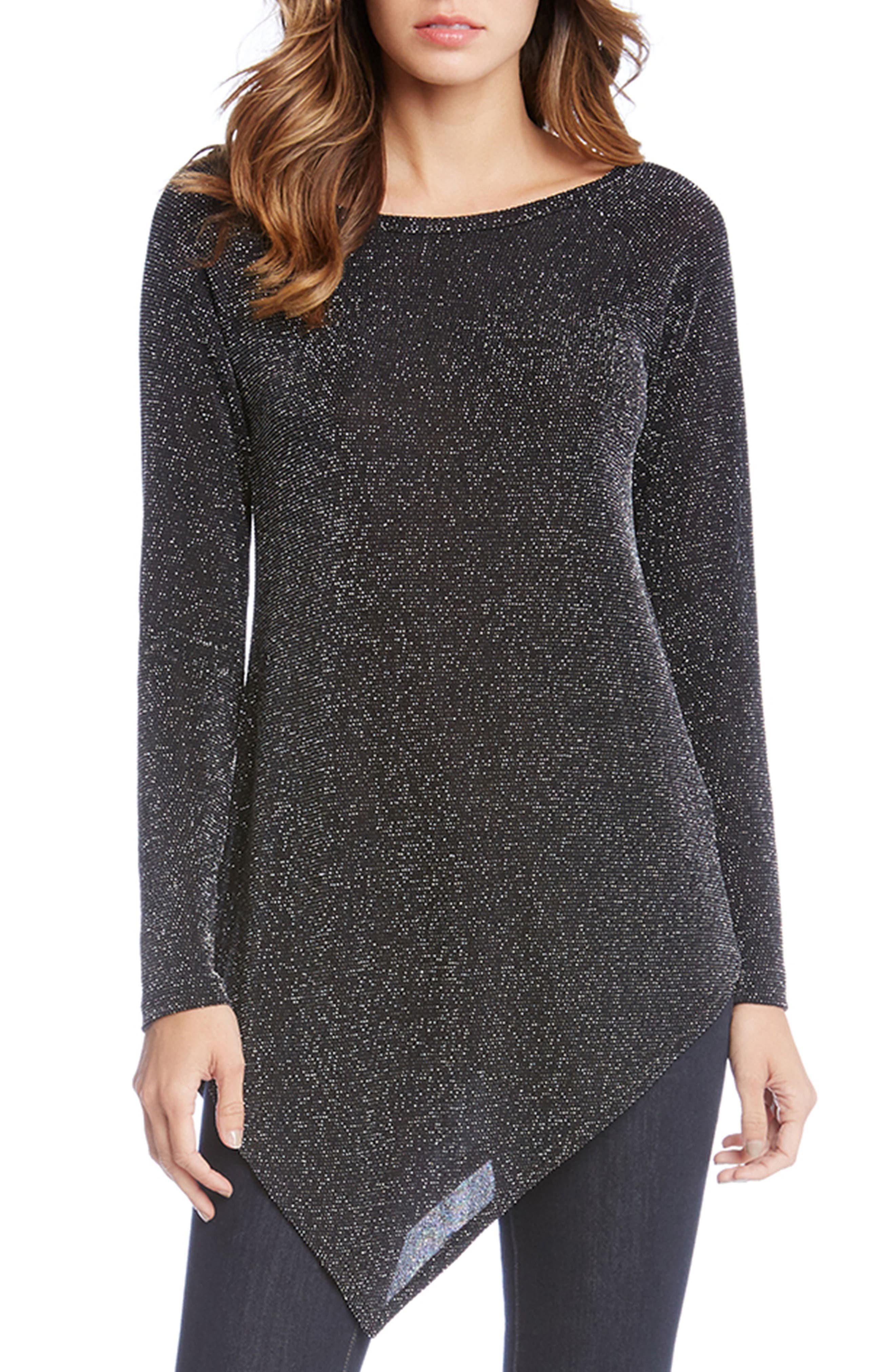 Karen Kane Asymmetrical Sparkle Knit Top