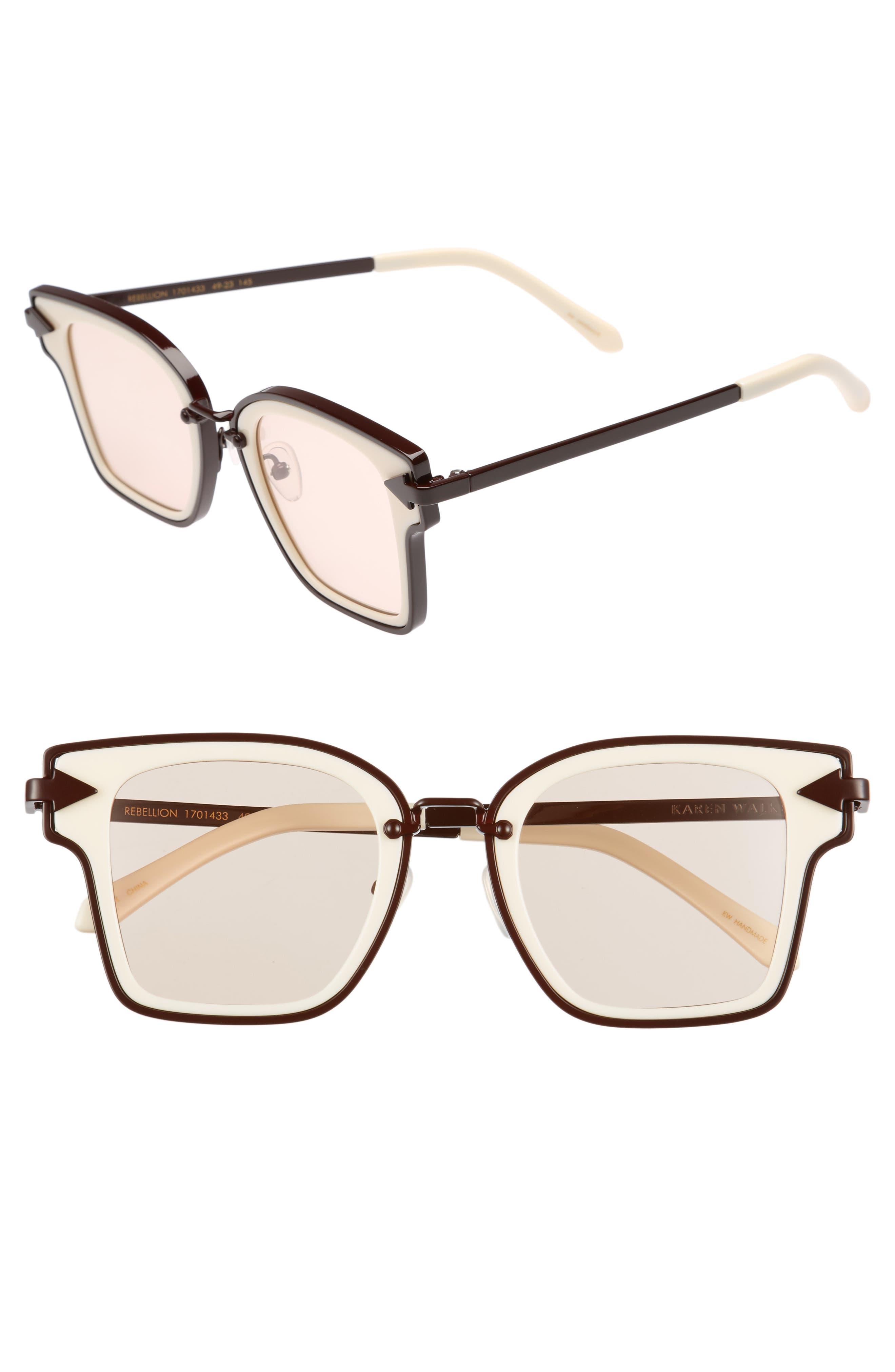 Rebellion 49mm Sunglasses,                         Main,                         color, Ecru
