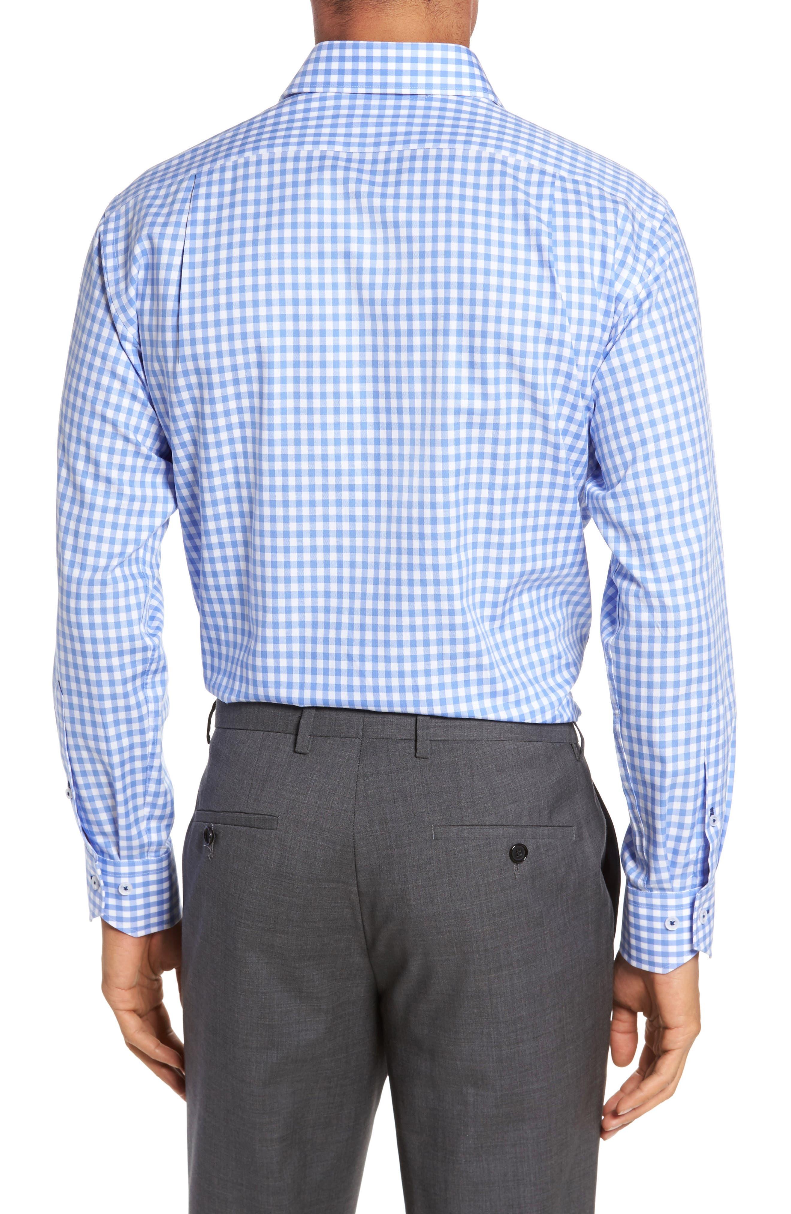 Trim Fit Gingham Dress Shirt,                             Alternate thumbnail 2, color,                             Light Blue