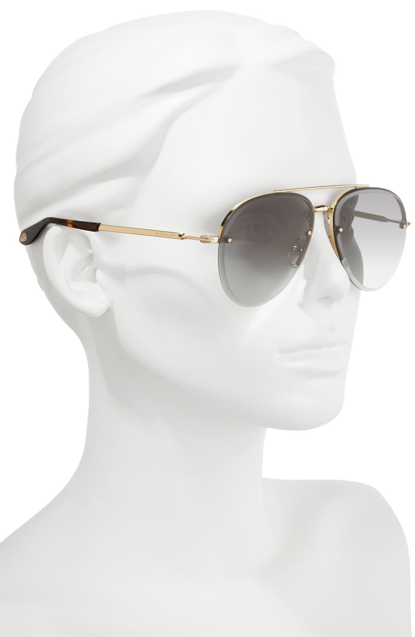 62mm Oversize Aviator Sunglasses,                             Alternate thumbnail 2, color,                             Gold