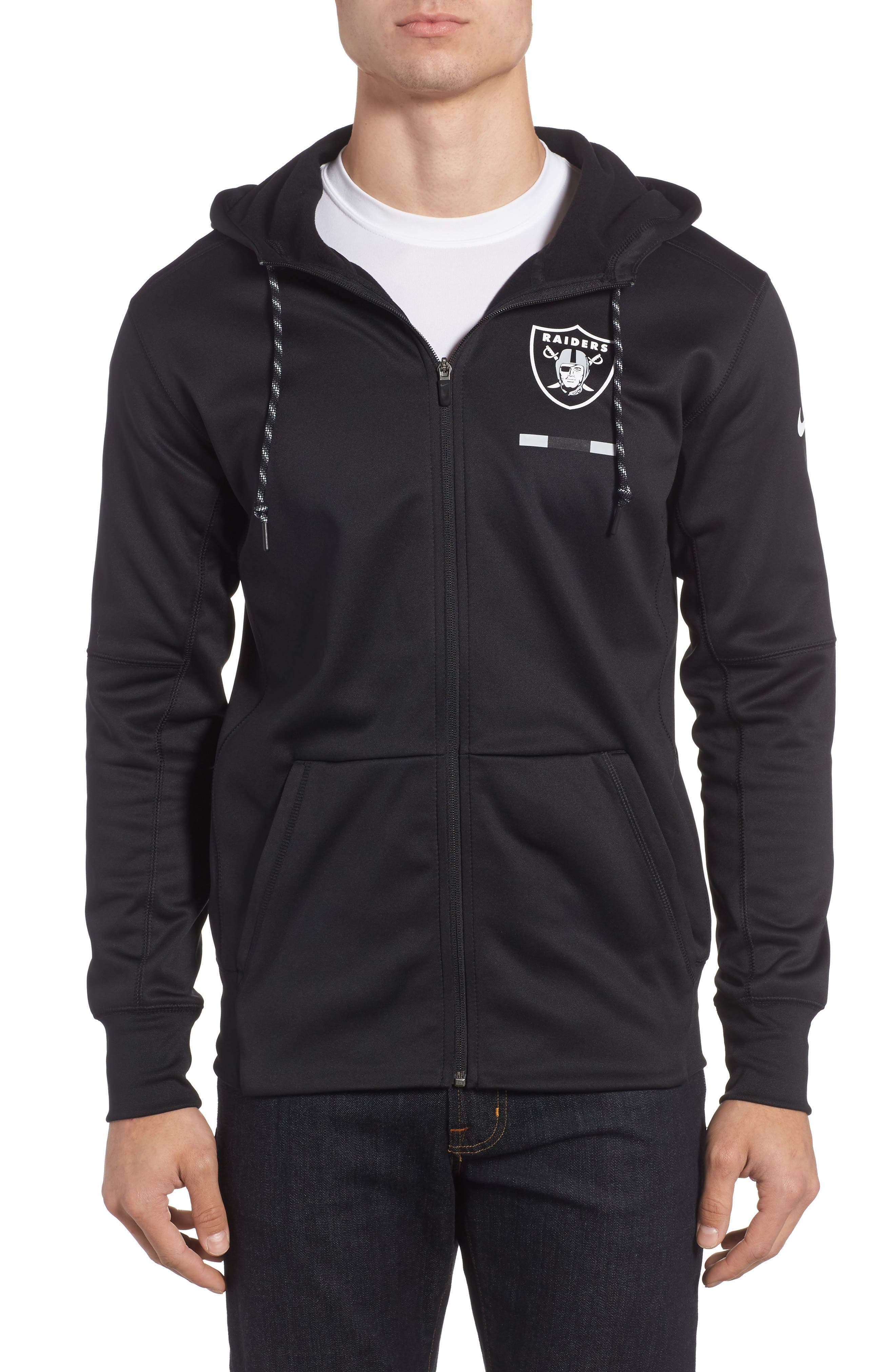 Therma-FIT NFL Graphic Zip Hoodie,                             Main thumbnail 1, color,                             Raiders