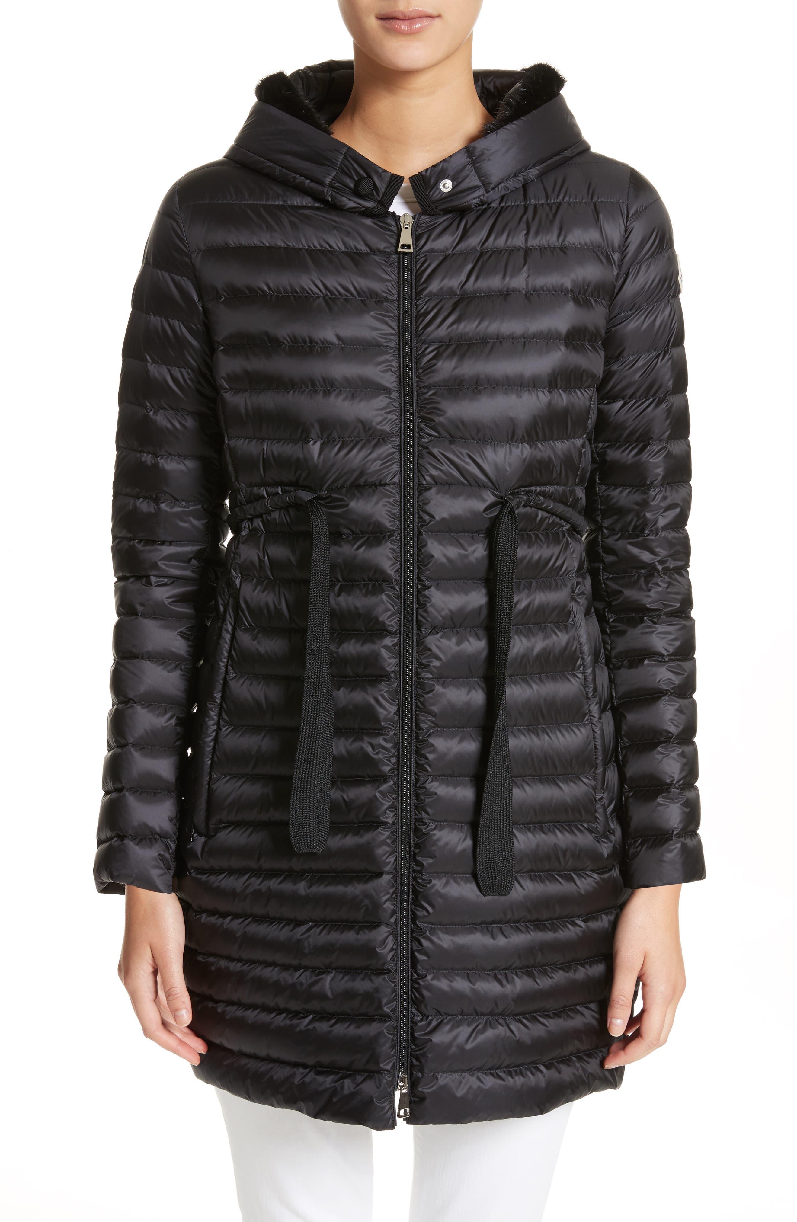 Moncler Barbel Hooded Down Coat with Genuine Mink Fur Trim