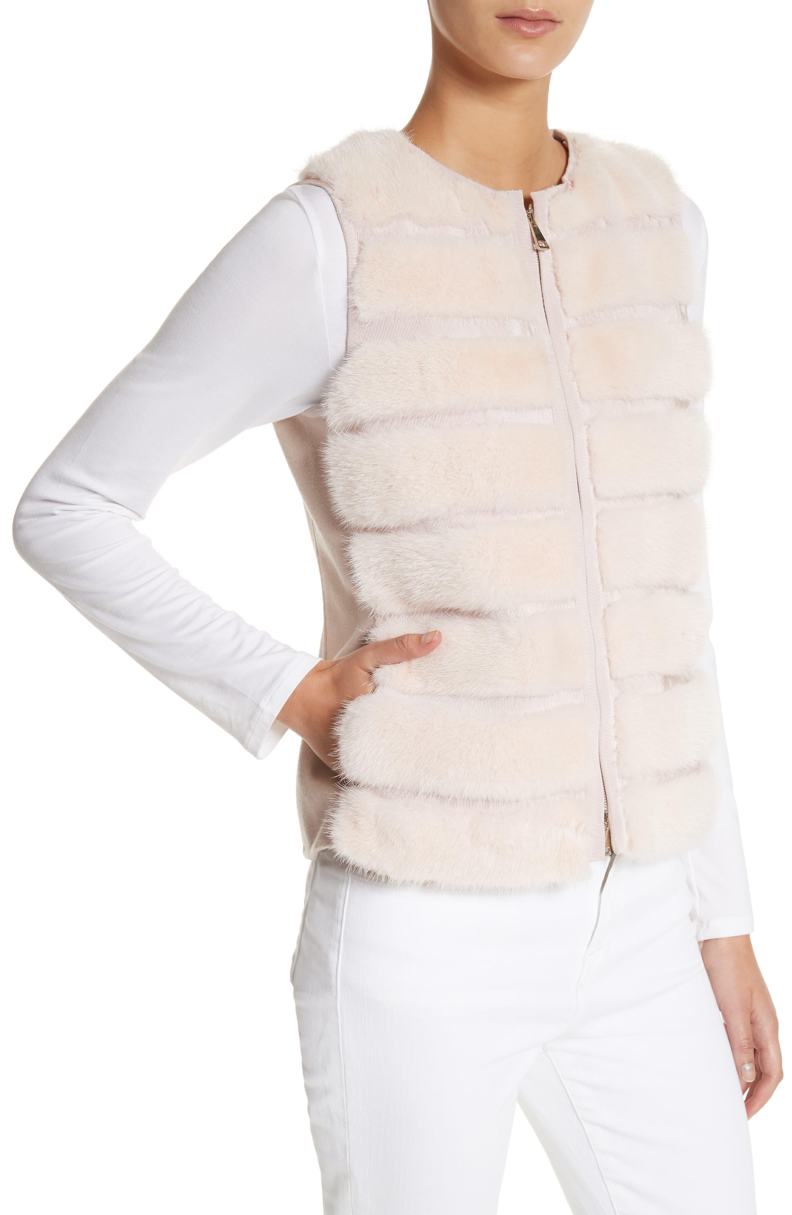 Ametrine Wool & Cashmere Vest with Genuine Mink Fur Trim & Removable Hood,                             Alternate thumbnail 4, color,                             Blush
