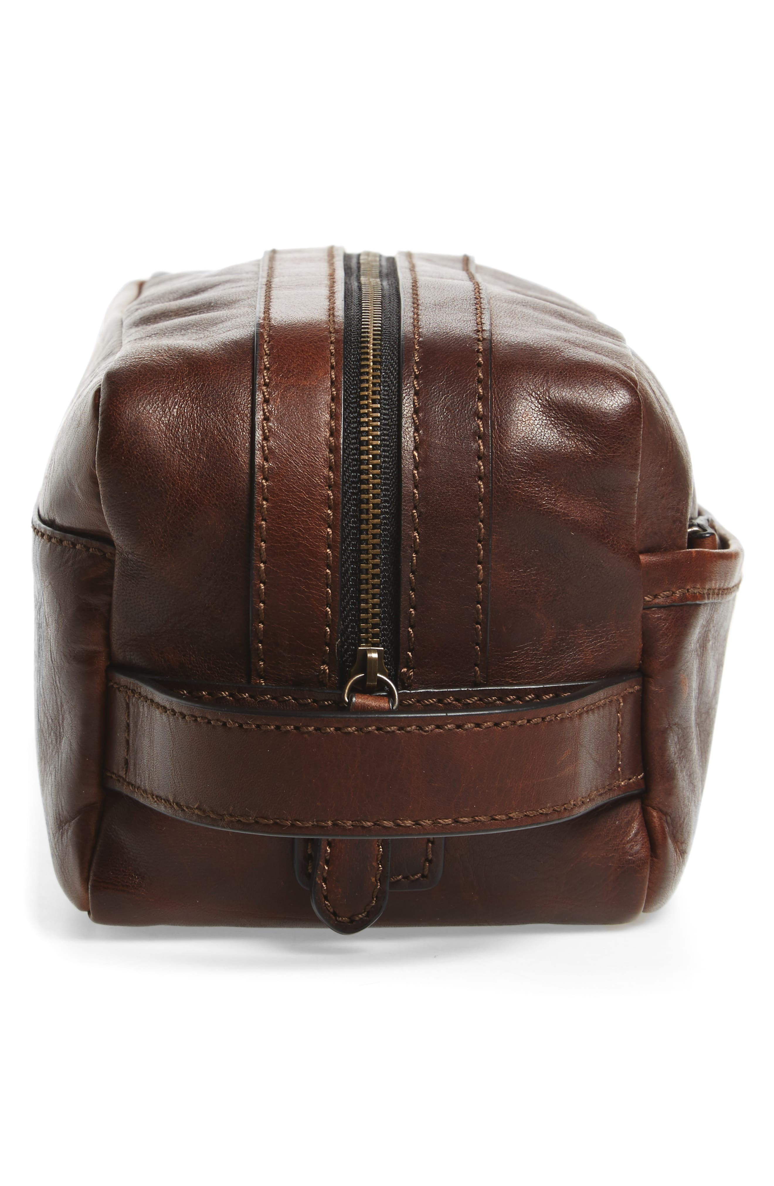'Logan' Leather Travel Kit,                             Alternate thumbnail 4, color,                             Dark Brown