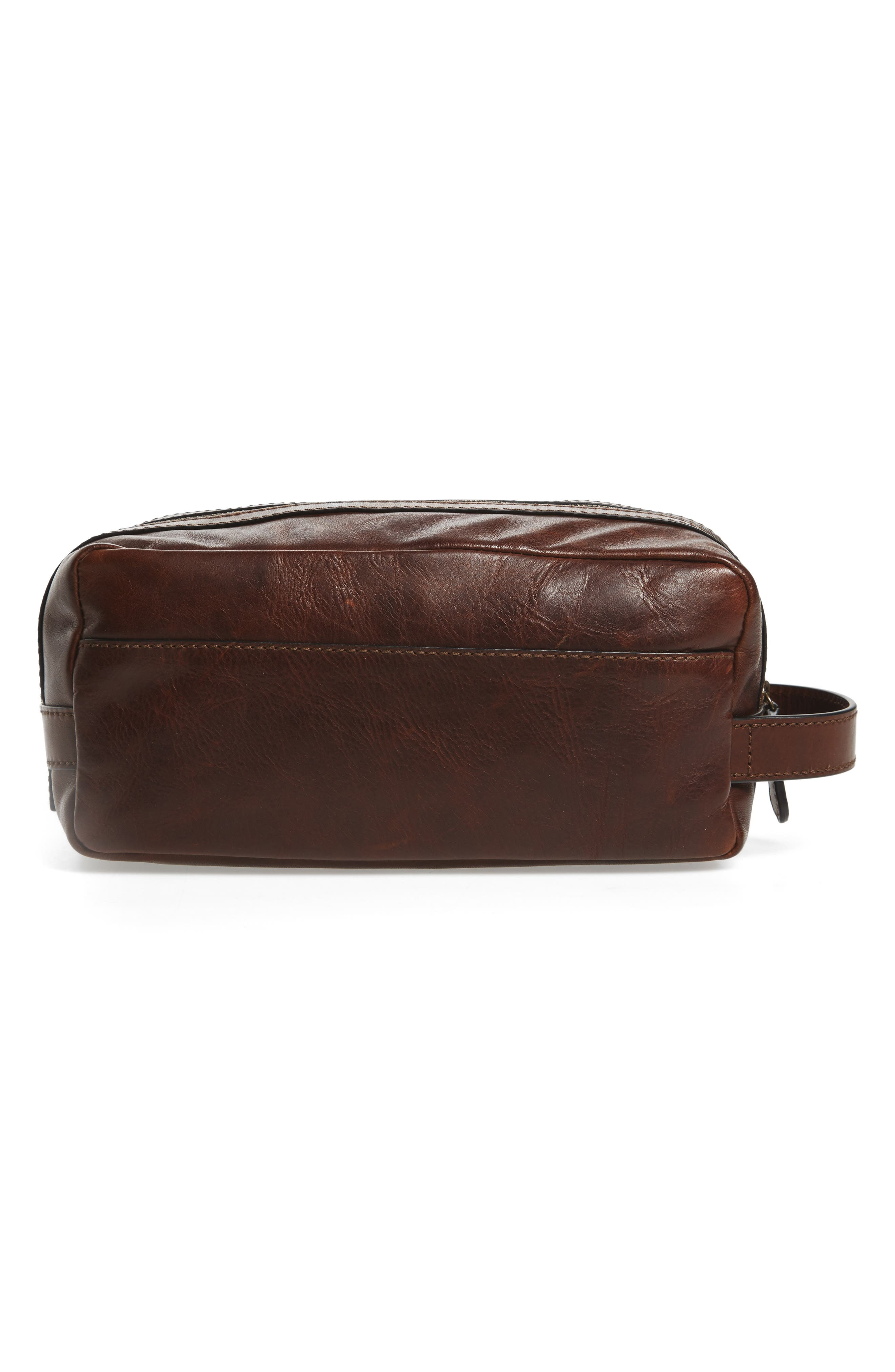 'Logan' Leather Travel Kit,                             Alternate thumbnail 3, color,                             Dark Brown