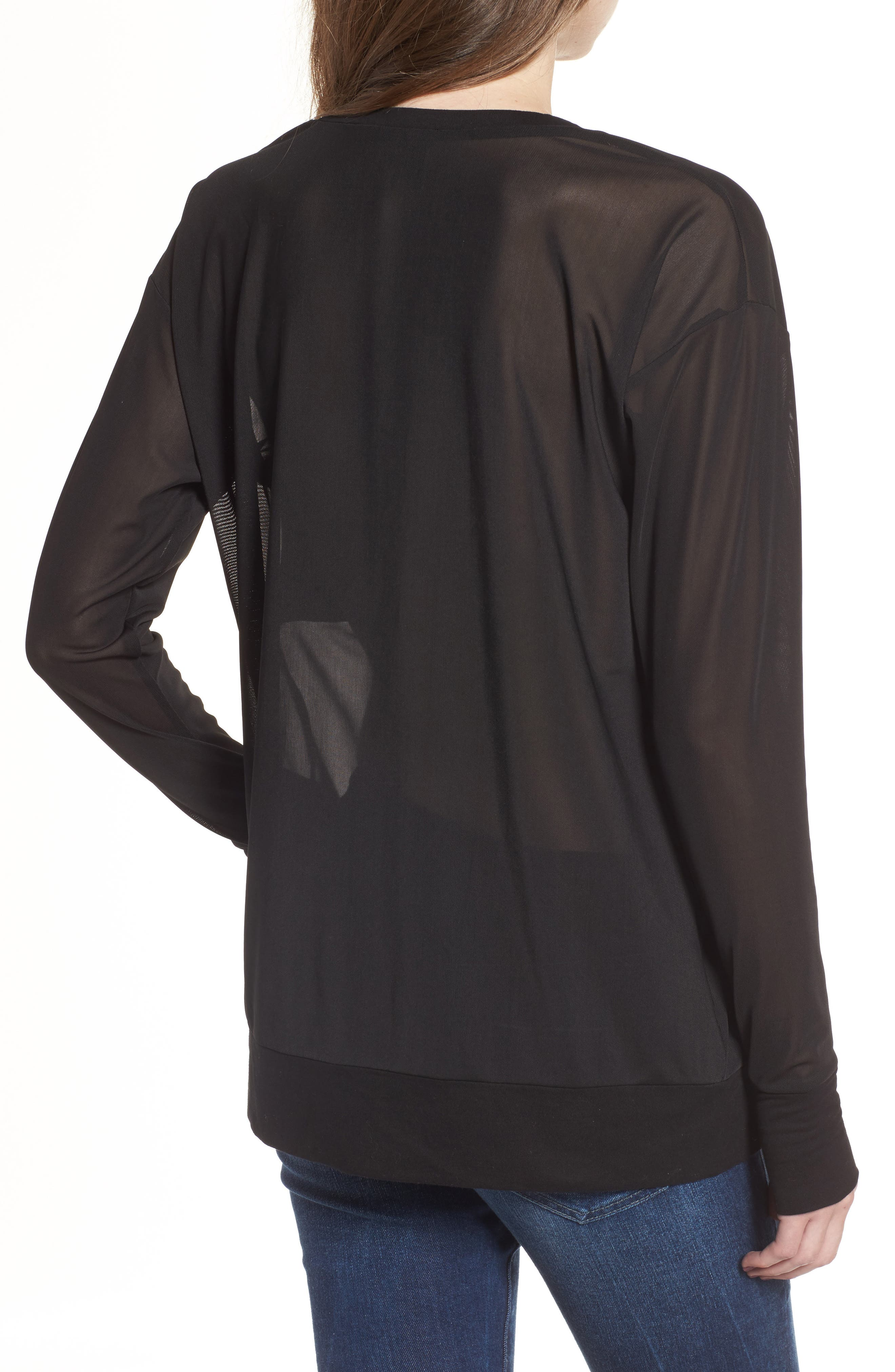 Embossed Mesh Top,                             Alternate thumbnail 2, color,                             Black