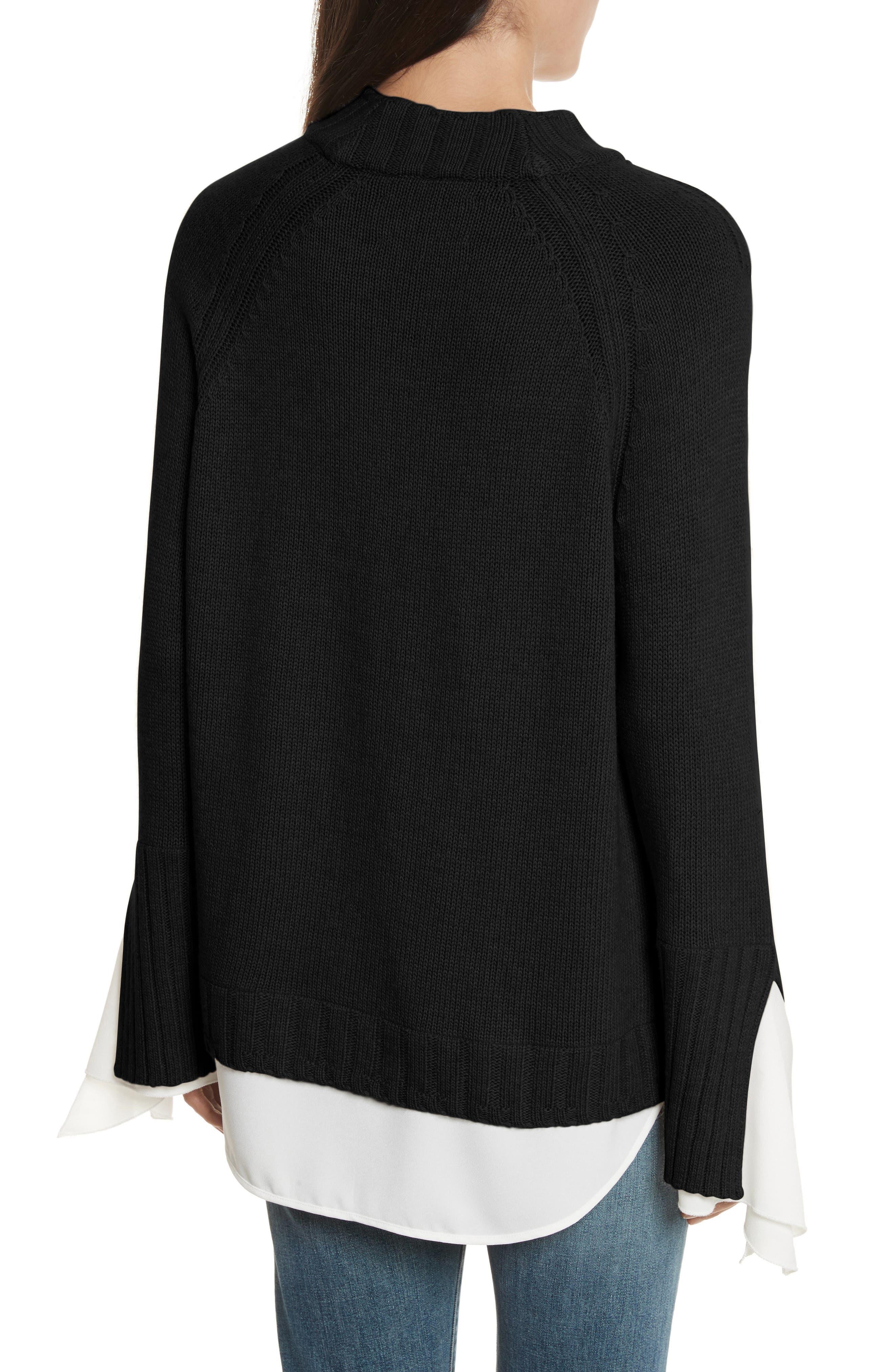 Remi Layered Pullover,                             Alternate thumbnail 2, color,                             Black/ White
