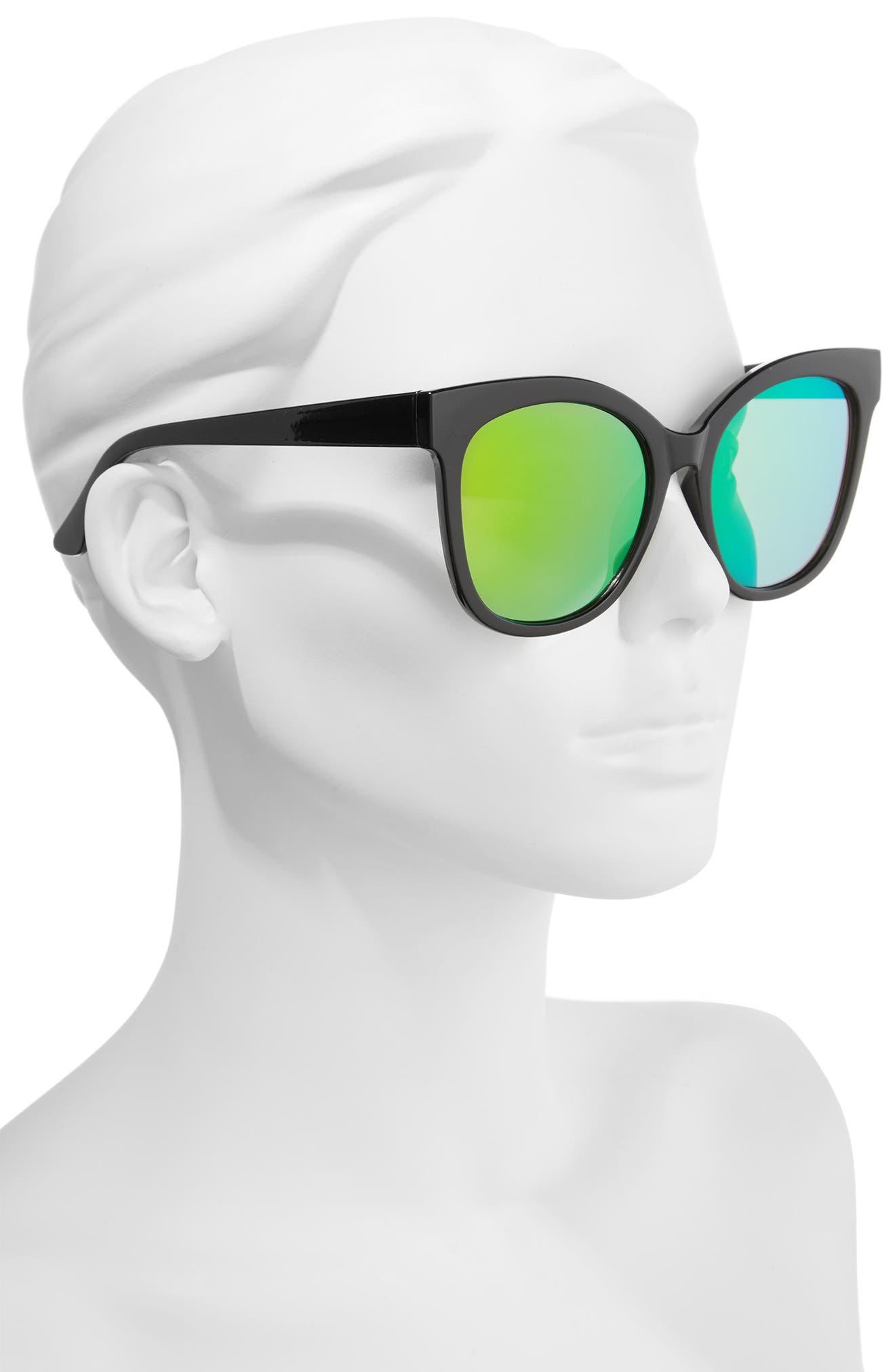 55mm Square Sunglasses,                             Alternate thumbnail 2, color,                             Black/ Pink