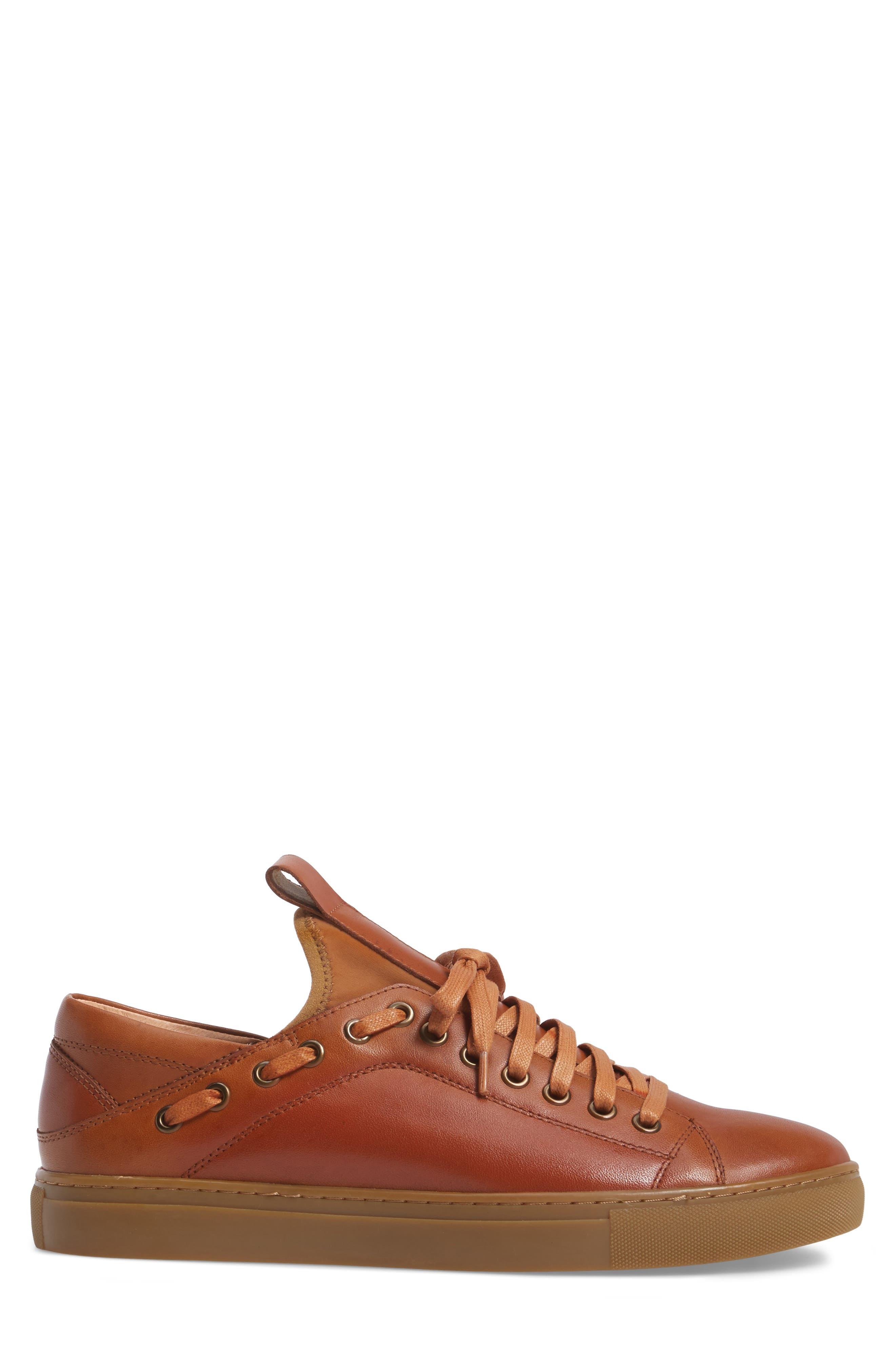 Owen Sneaker,                             Alternate thumbnail 3, color,                             Cognac Leather