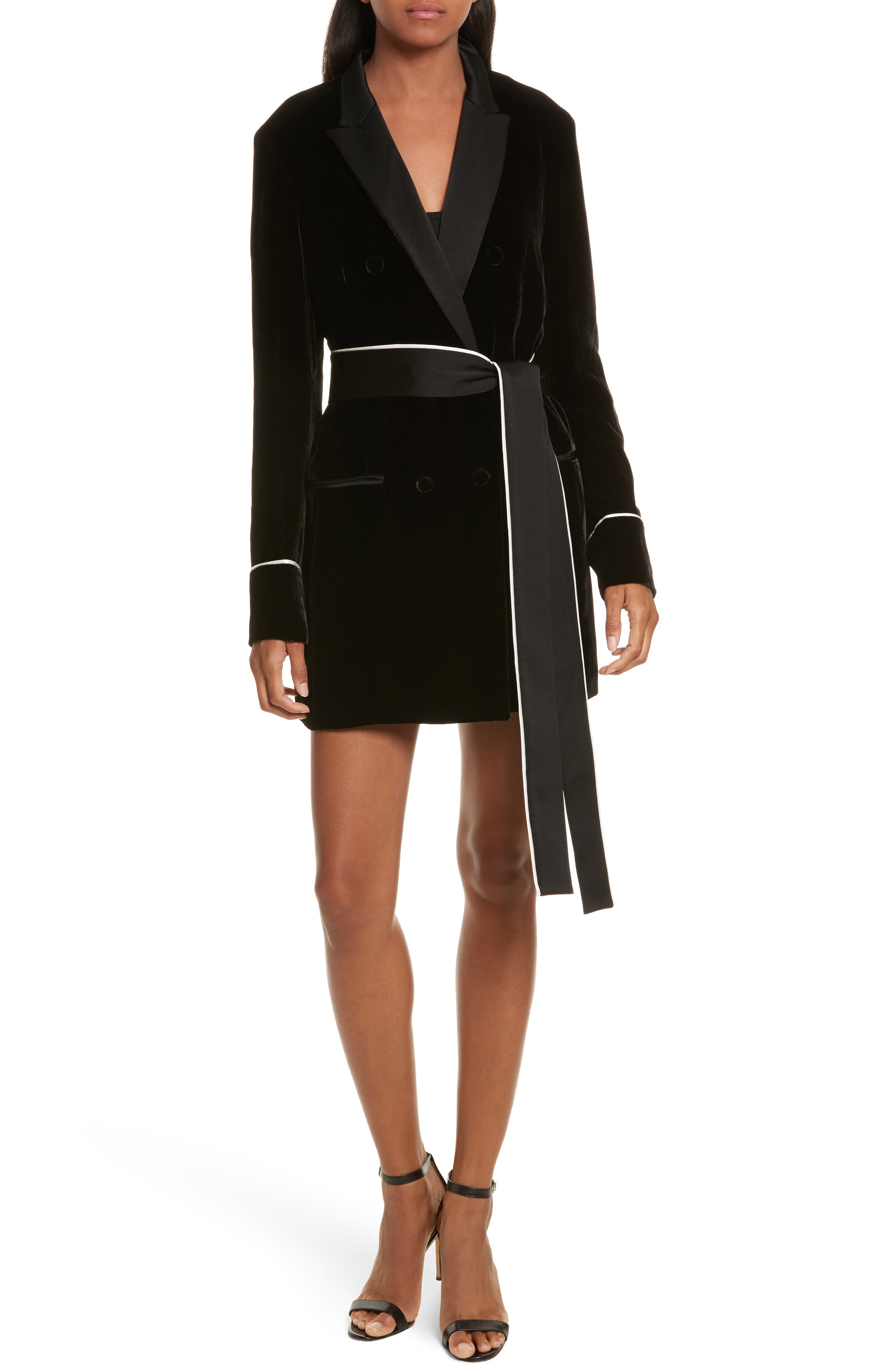 Diane Kruger x GREY Jason Wu Velvet Shirtdress,                         Main,                         color, Black