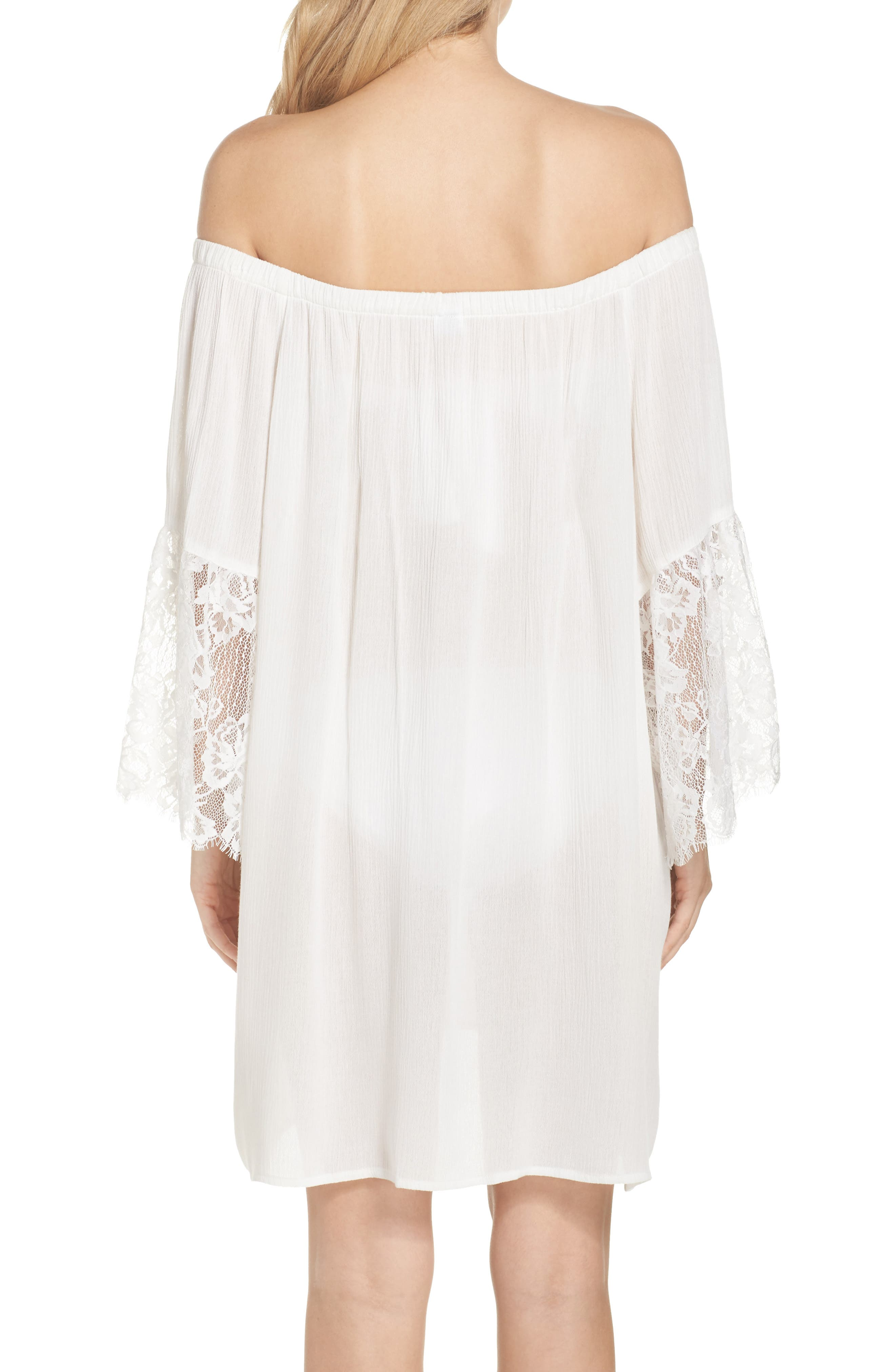 Off the Shoulder Cover-Up Dress,                             Alternate thumbnail 3, color,                             Ivory Egret