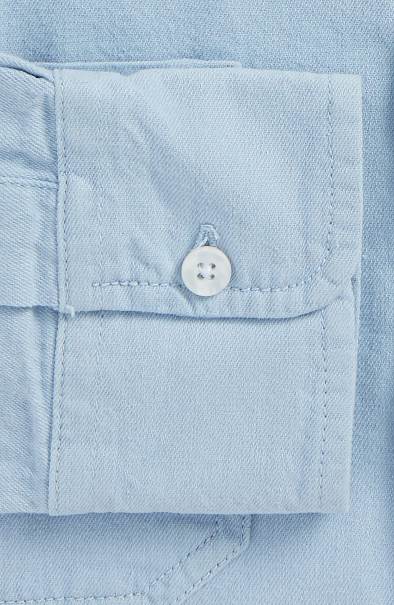 Alternate Image 5  - Topman Washed Twill Shirt