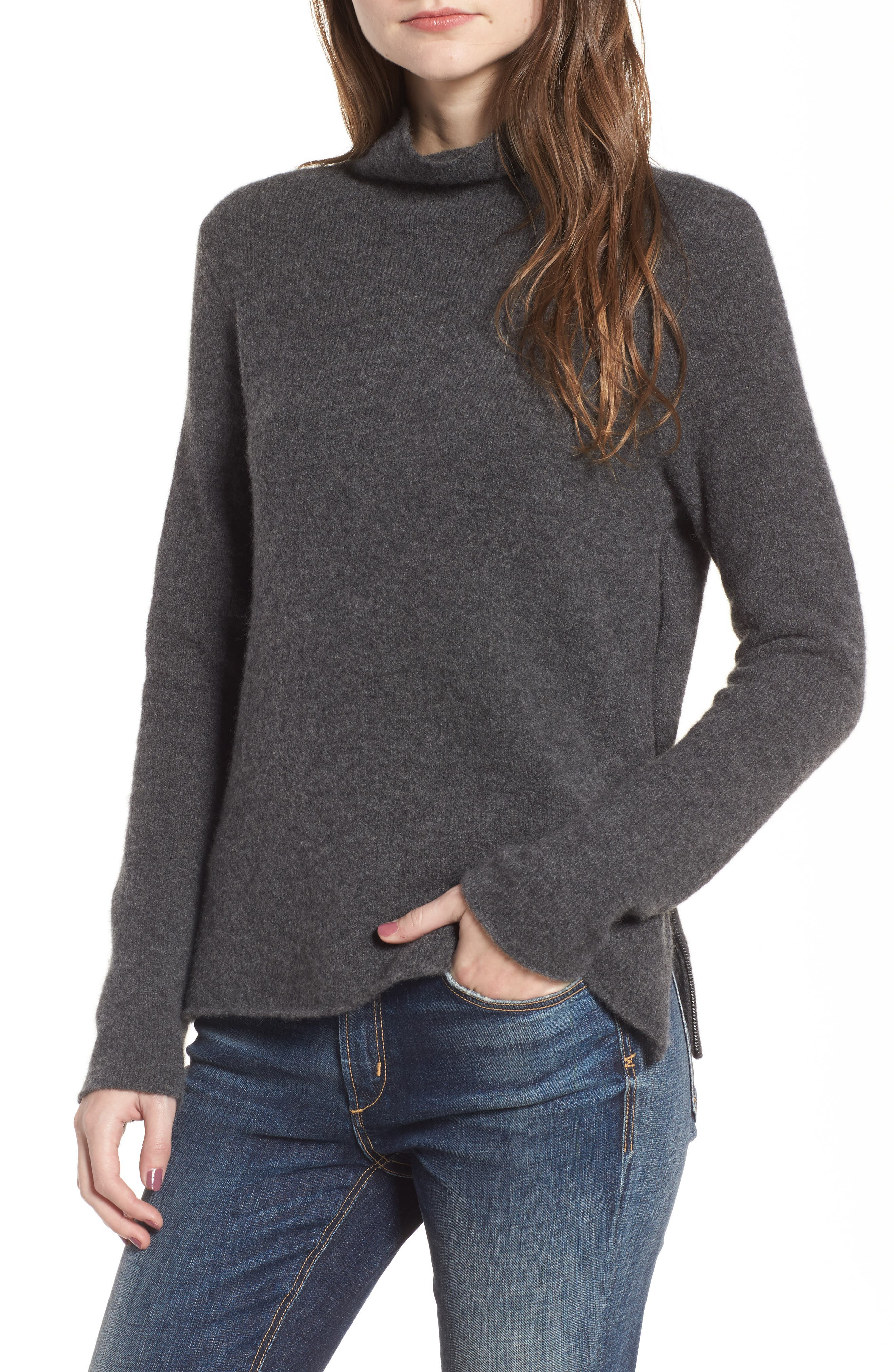 Main Image - James Perse Stretch Cashmere Mock Neck Sweater