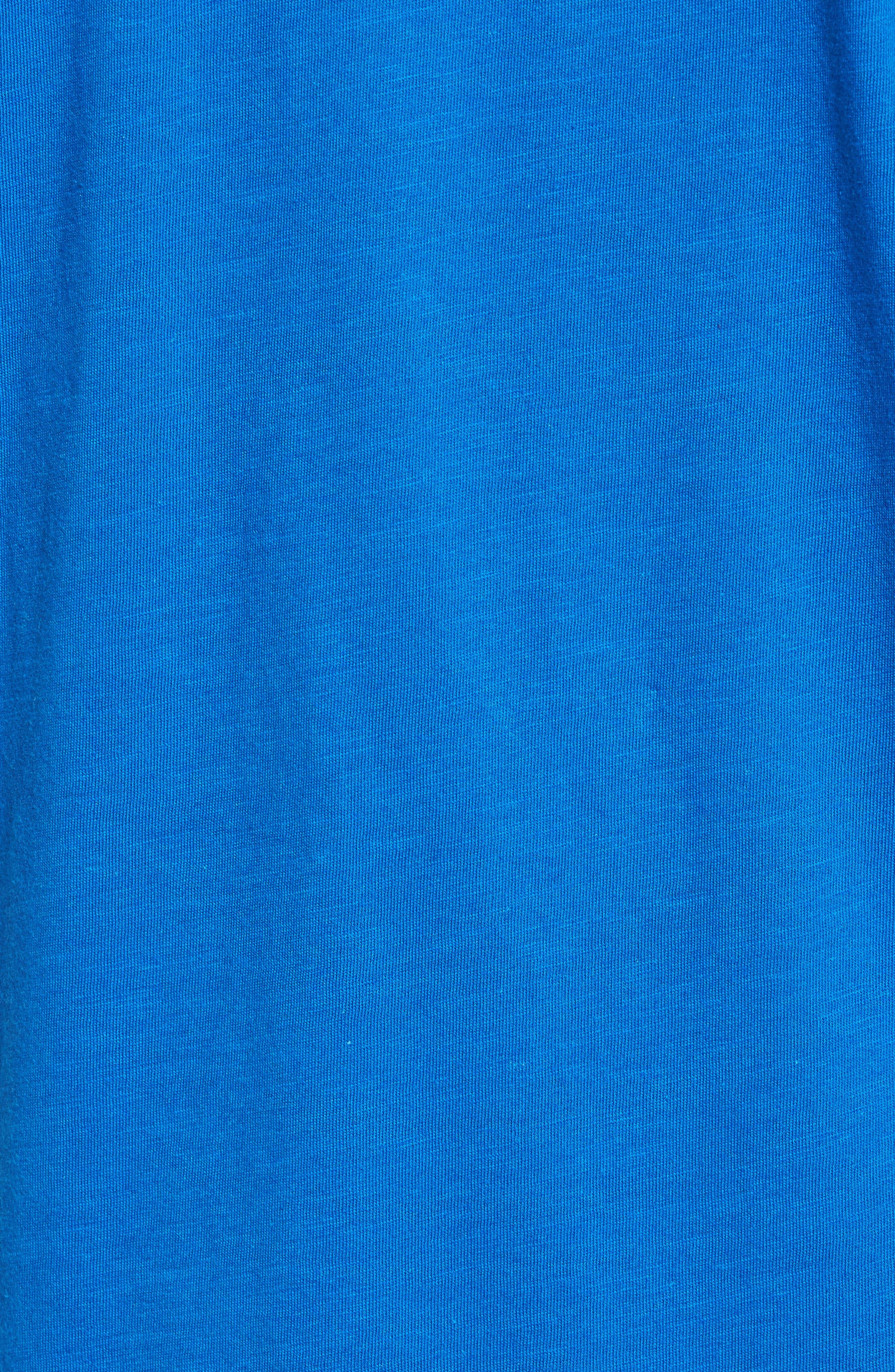 Slub Cotton V-Neck T-Shirt,                             Alternate thumbnail 5, color,                             Blue Racer