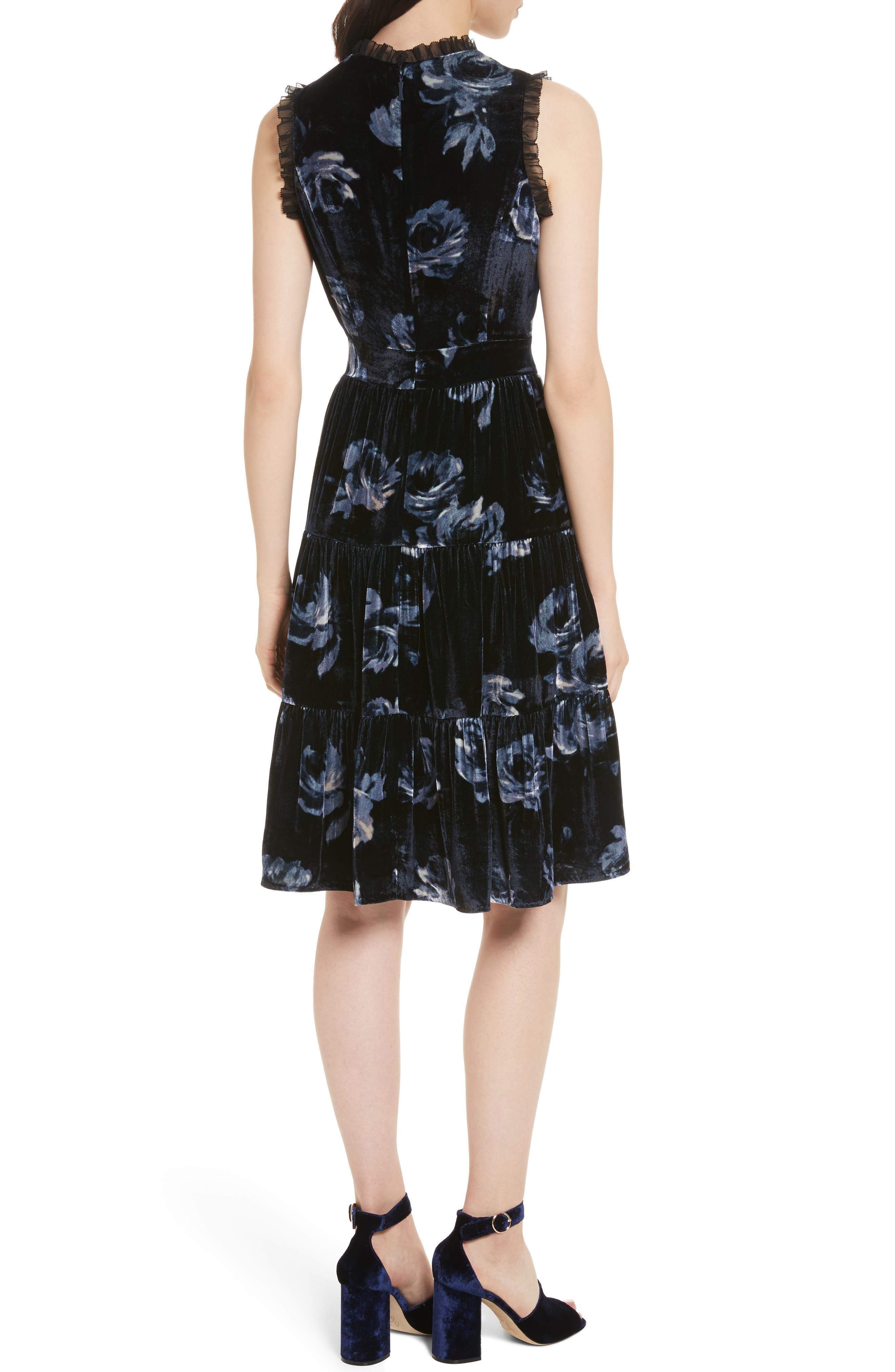 night rose velvet dress,                             Alternate thumbnail 2, color,                             Rich Navy