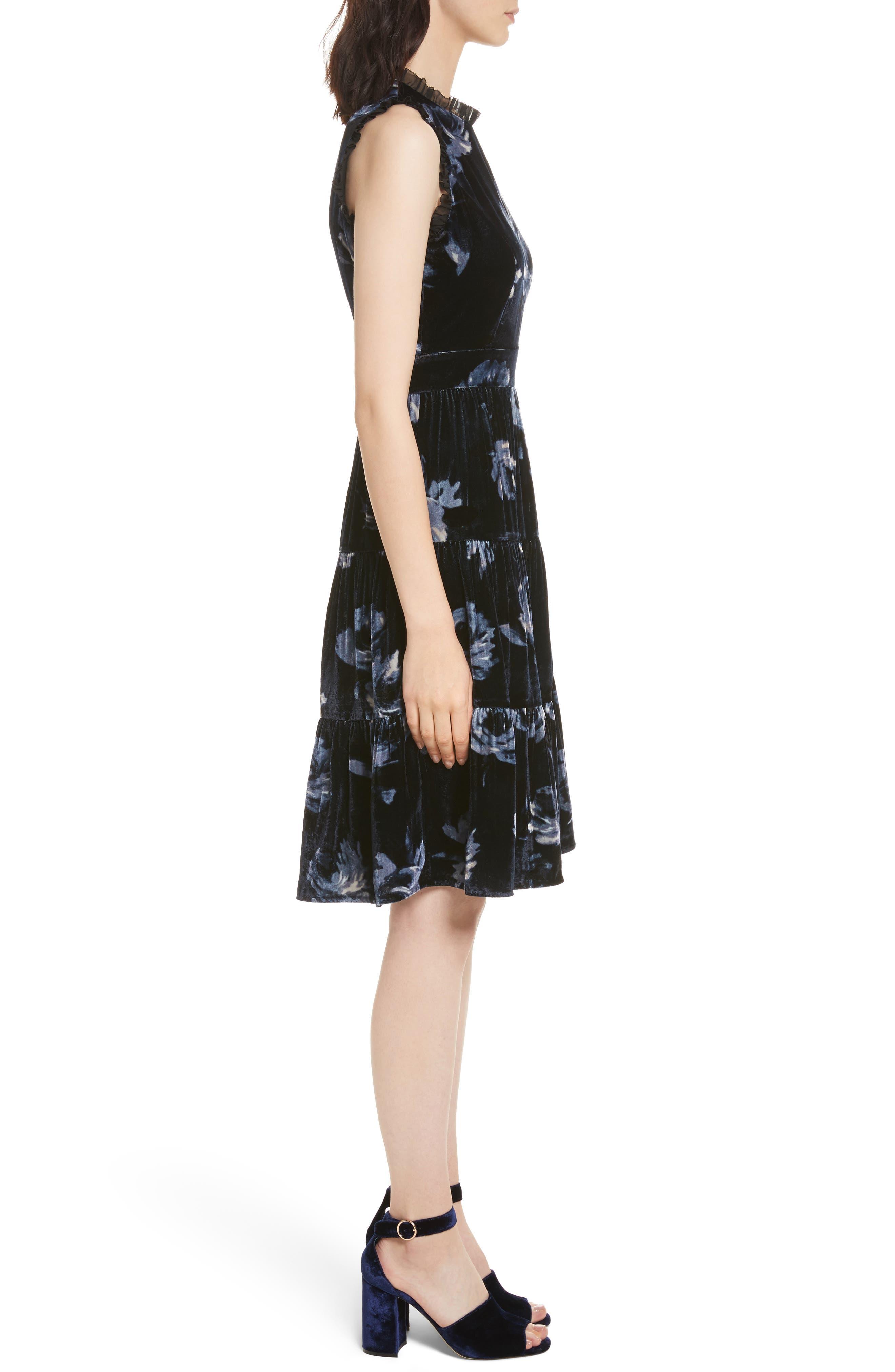 night rose velvet dress,                             Alternate thumbnail 3, color,                             Rich Navy