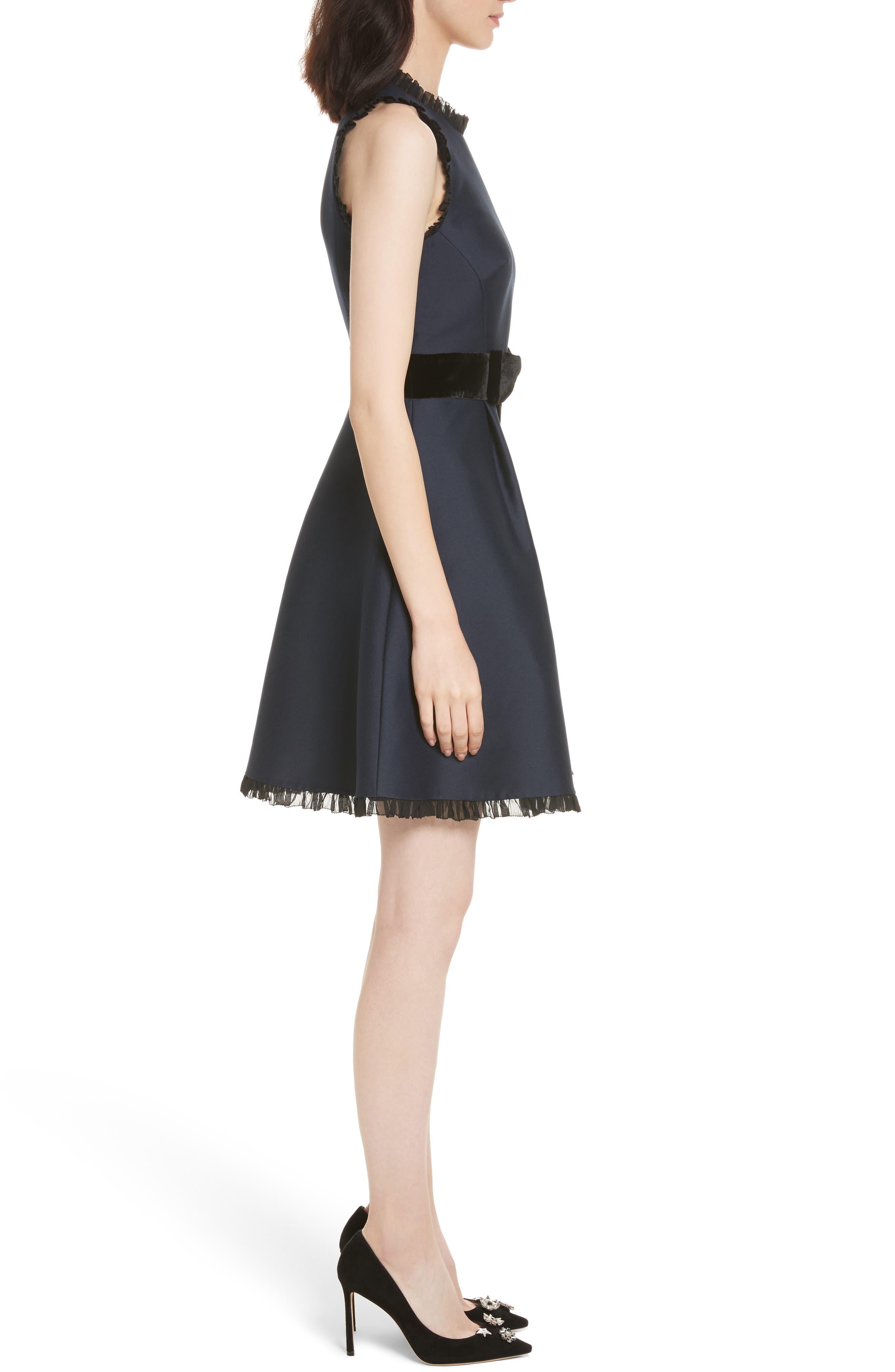 velvet bow fit & flare dress,                             Alternate thumbnail 3, color,                             Rich Navy