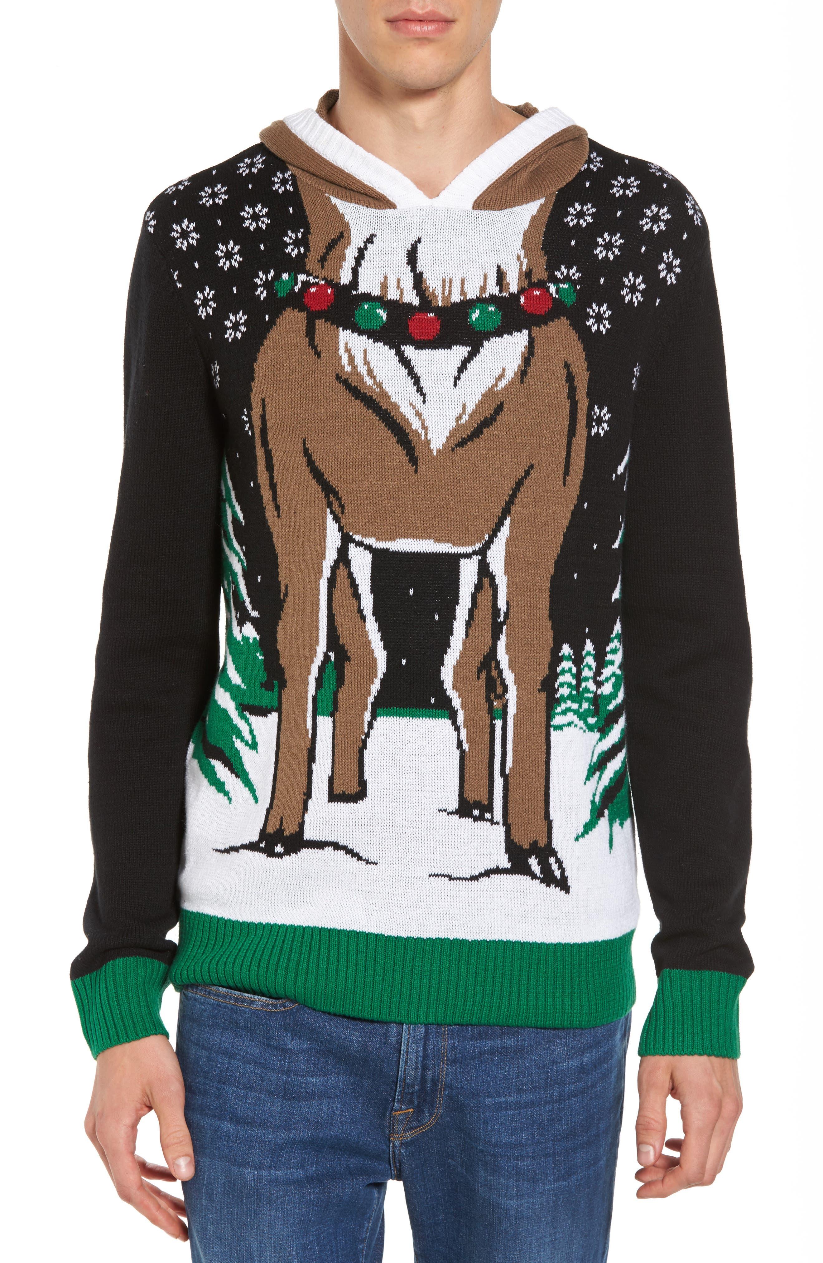 Reindeer Hooded Sweater,                         Main,                         color, Black Reindeer