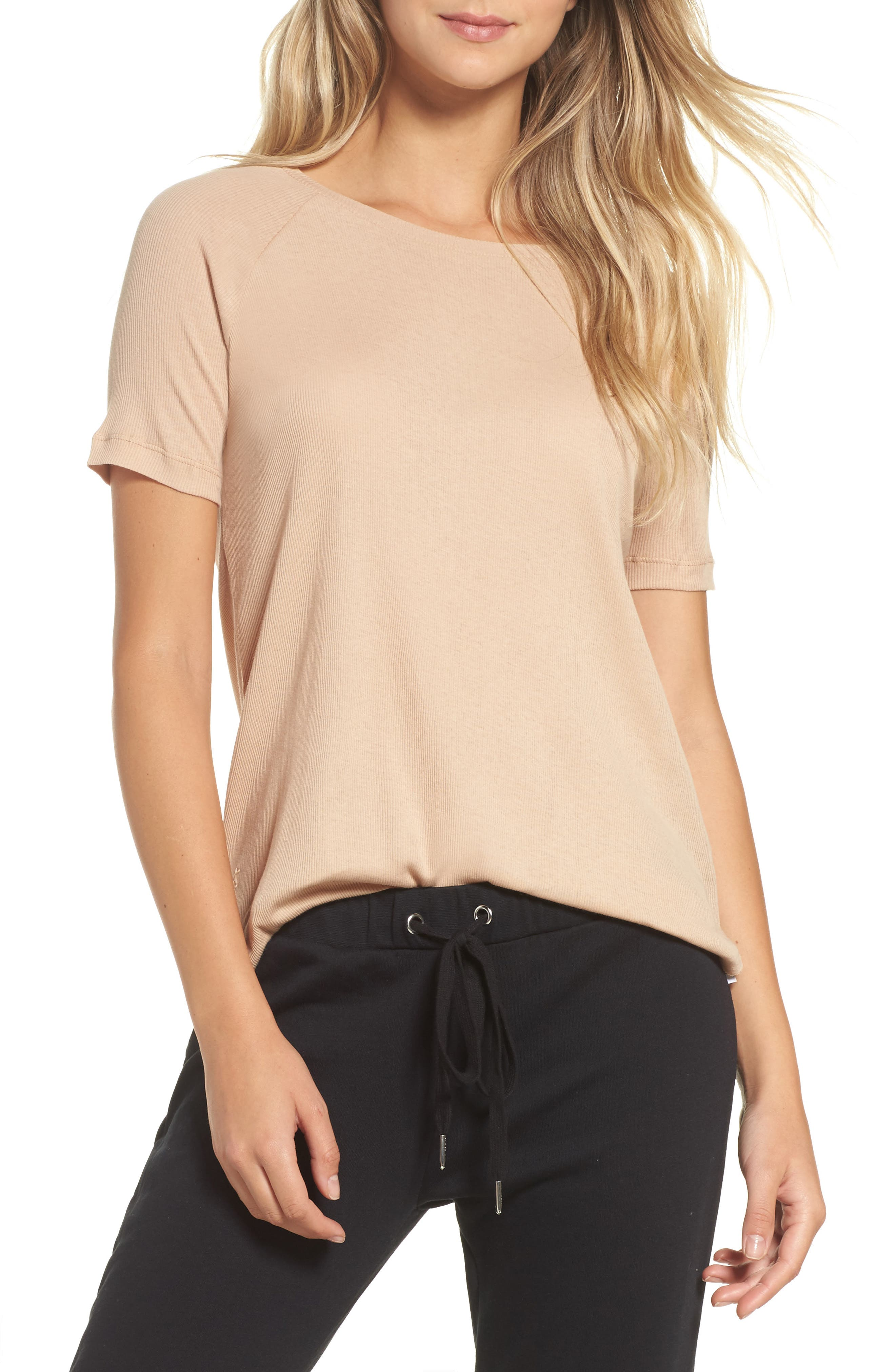 Ribbed Tee,                         Main,                         color, Rose