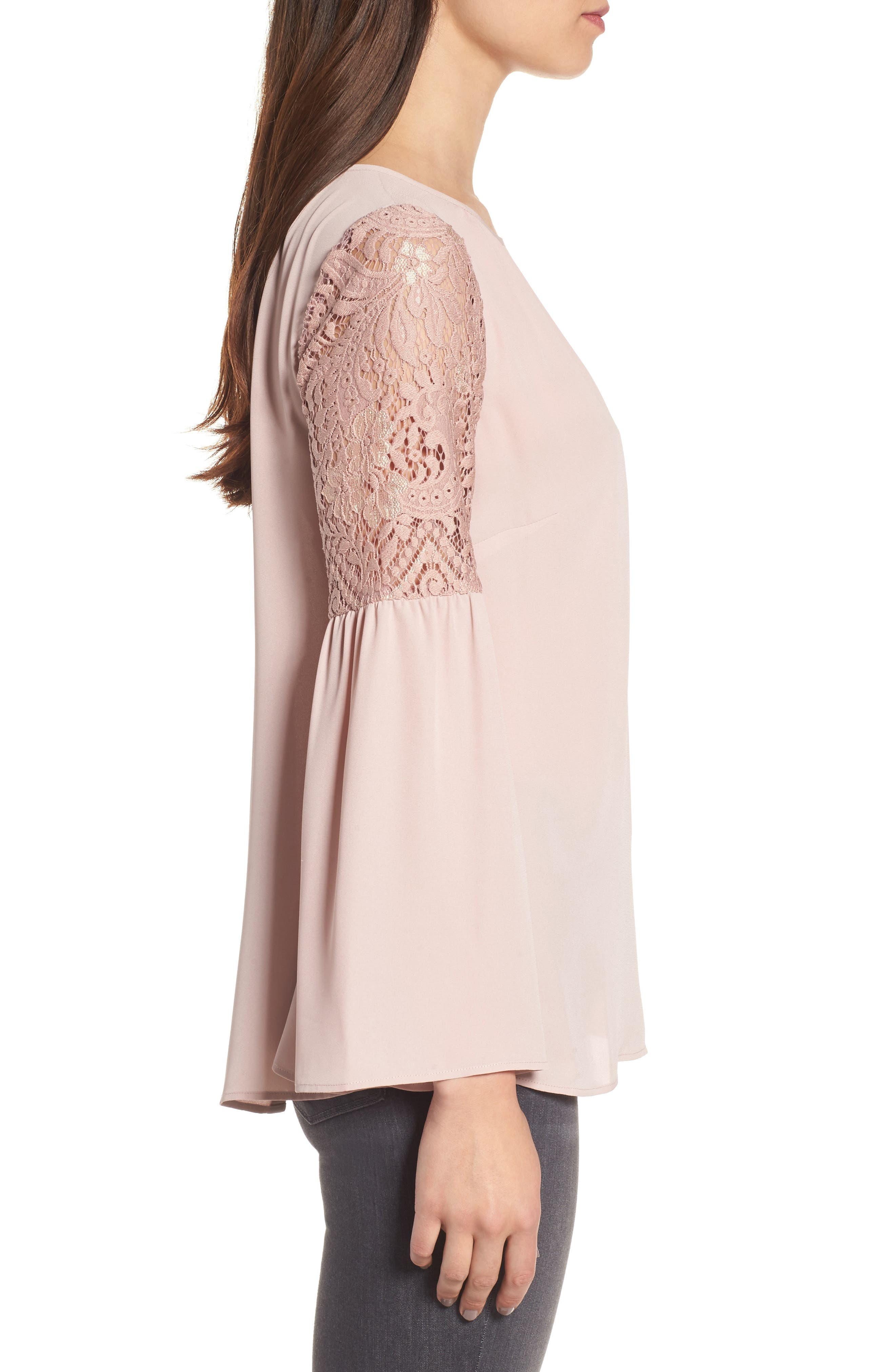 Alternate Image 3  - Chelsea28 Lace Bell Sleeve Top