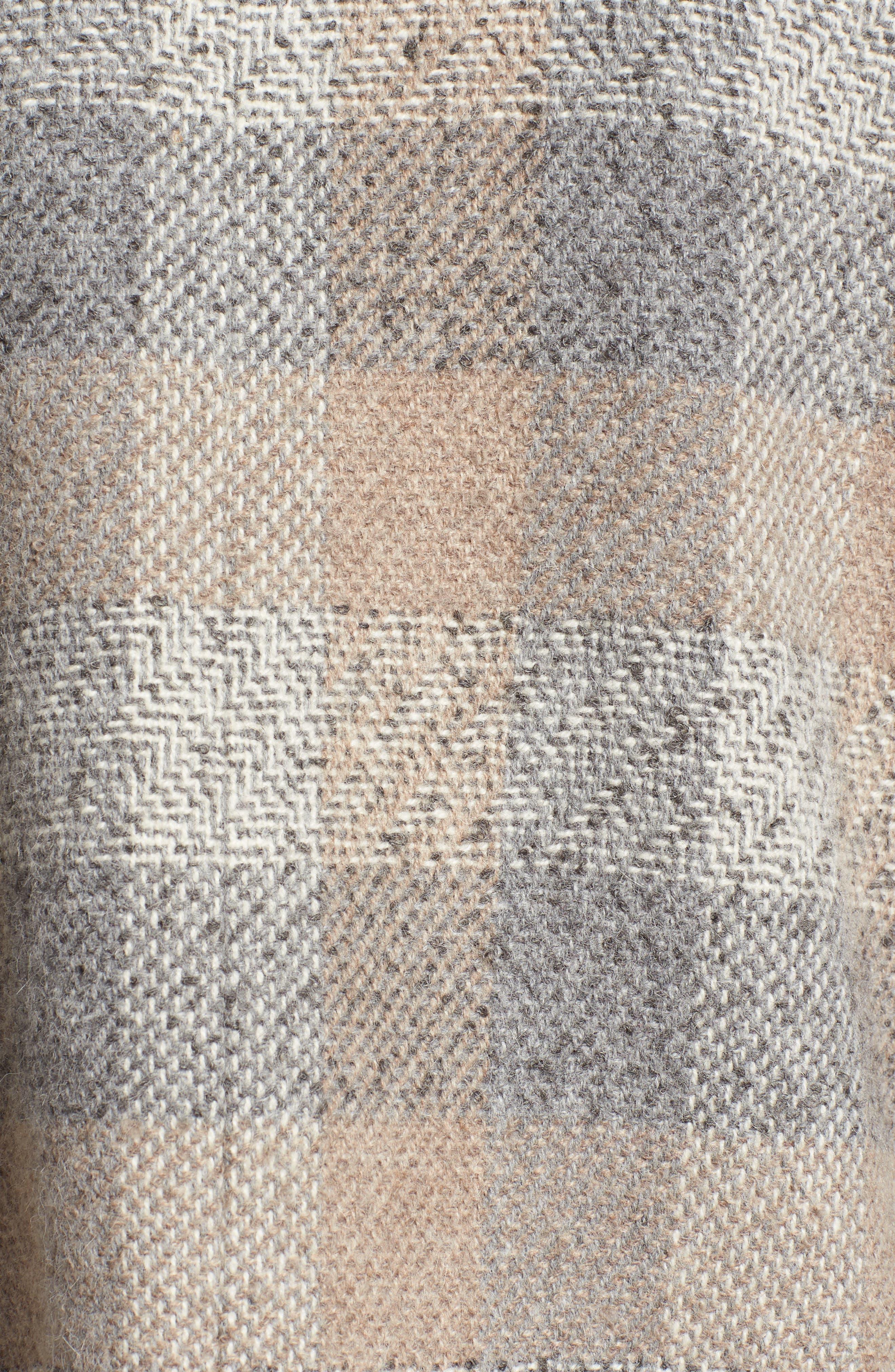 Plaid Alpaca Blend Coat,                             Alternate thumbnail 5, color,                             Dark Pearl